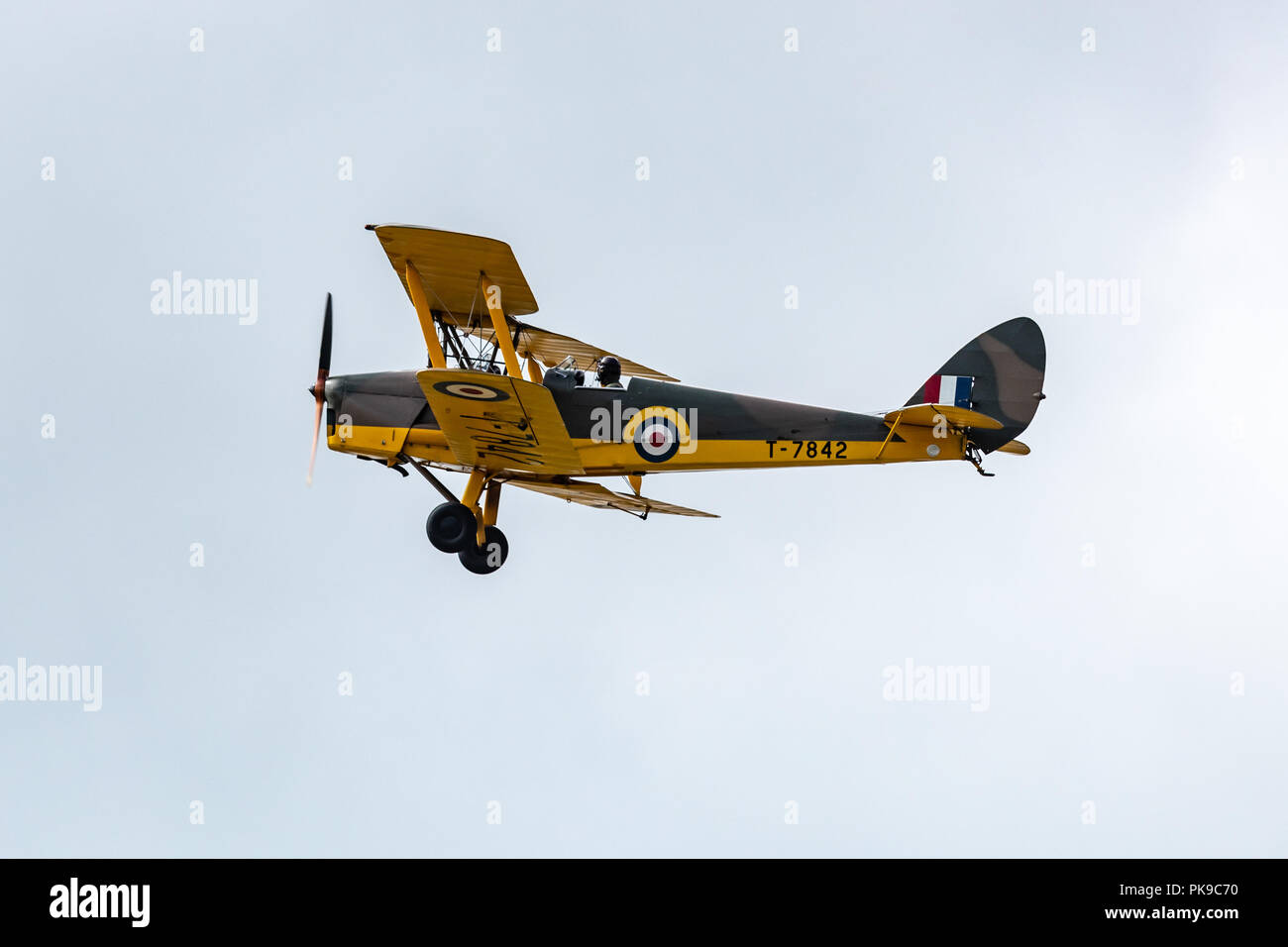 The De Havilland DH82 Tiger Moth, a safe, reliable and cheap biplane for training pilots for World War Two - Stock Image
