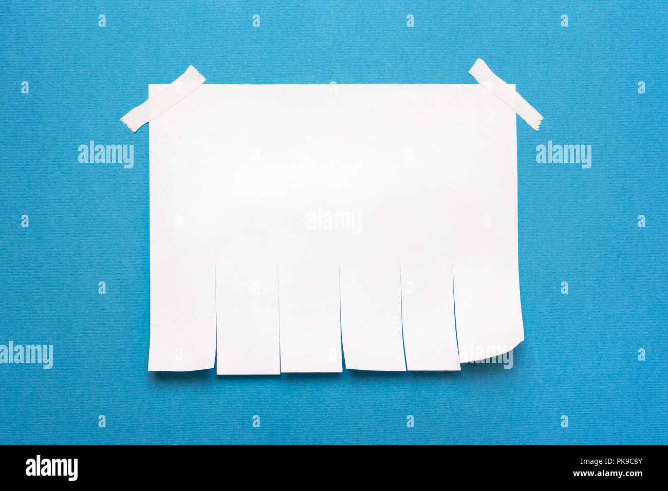 Pure White Paper Template Note For Writing Text On A Blue