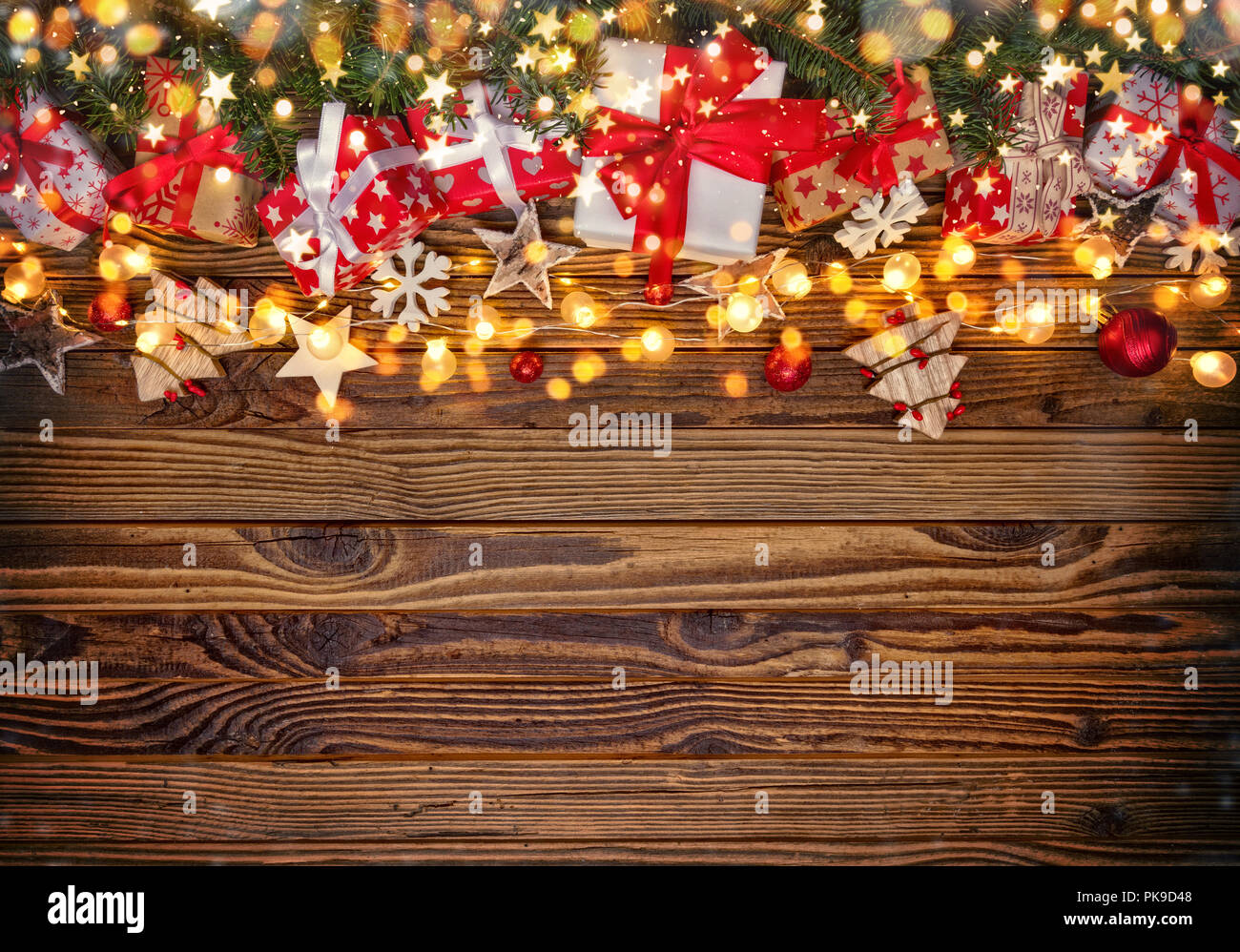 Decorative Christmas Rustic Background With Wooden Planks