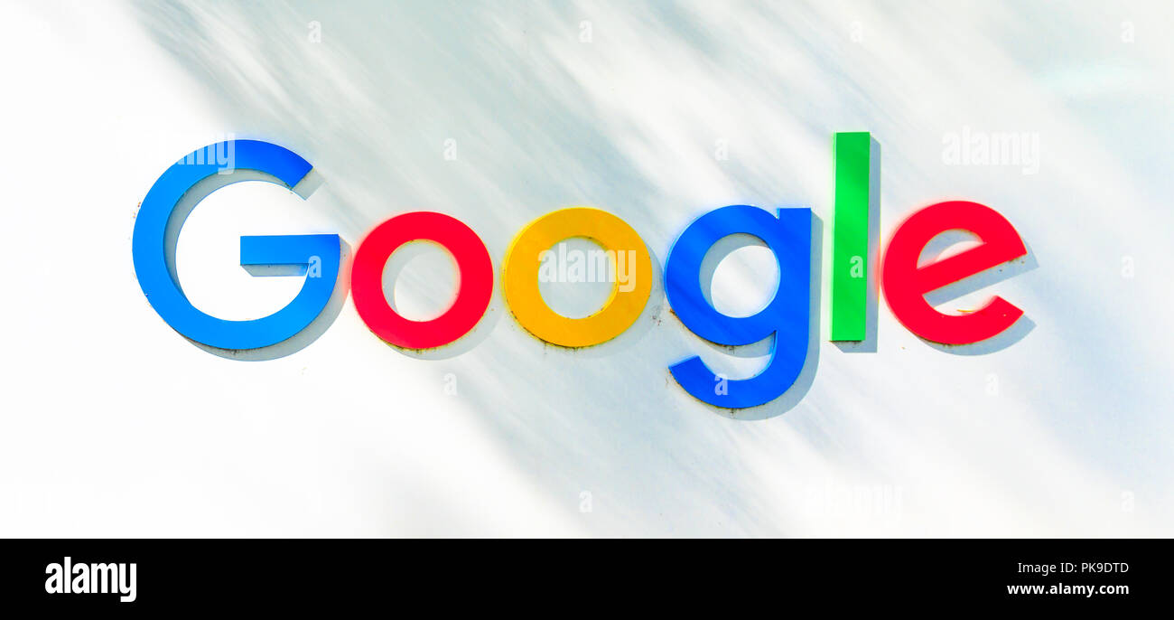 Mountain View, California, USA   August 13, 2018: Google Logo Isolated From  A Google Headquarters Sign. Google Technology Leader In Internet Services,  ...