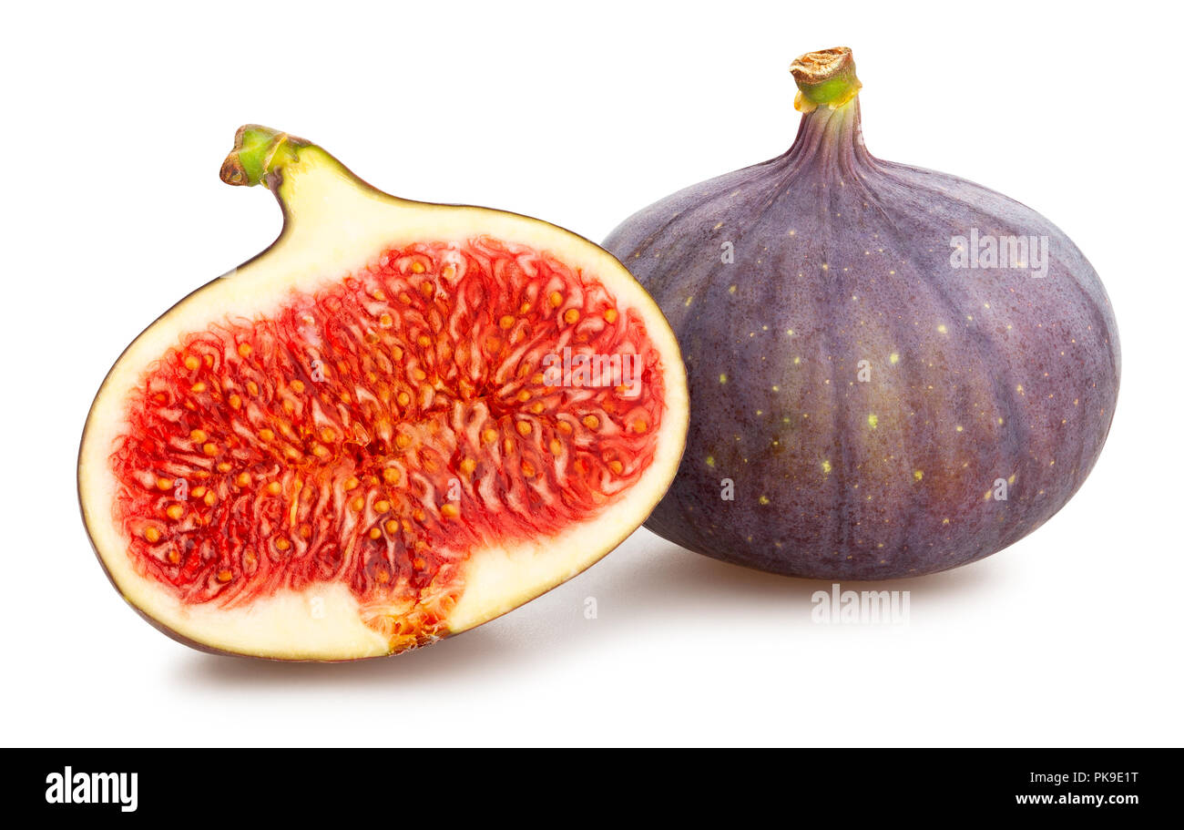 sliced figs path isolated Stock Photo