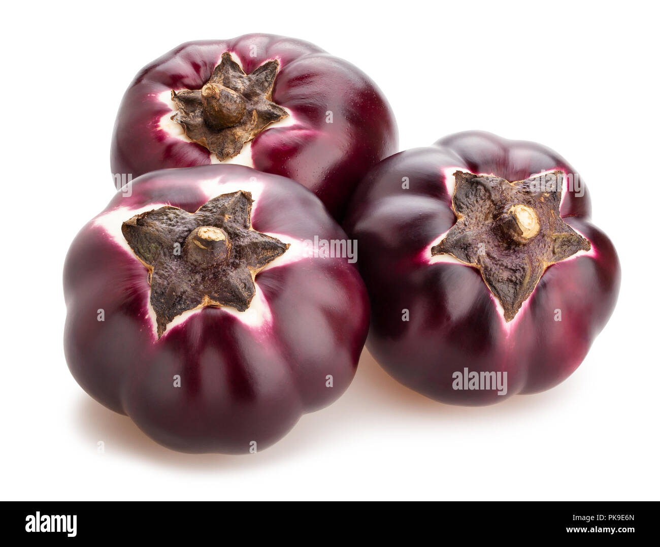 round mauve eggplant path isolated - Stock Image