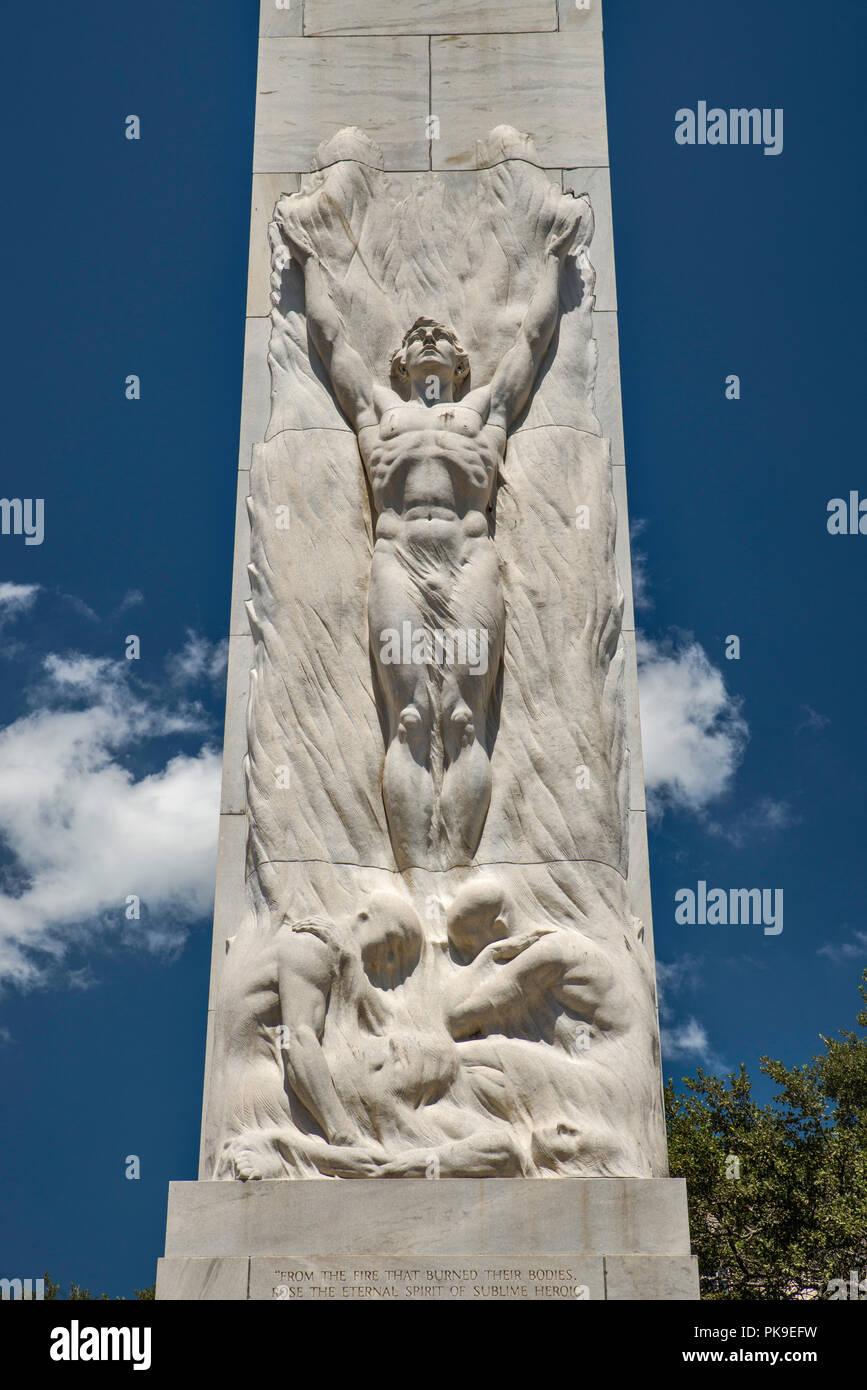 The Alamo Cenotaph aka The Spirit of Sacrifice Monument, Alamo Plaza, San Antonio, Texas, USA Stock Photo