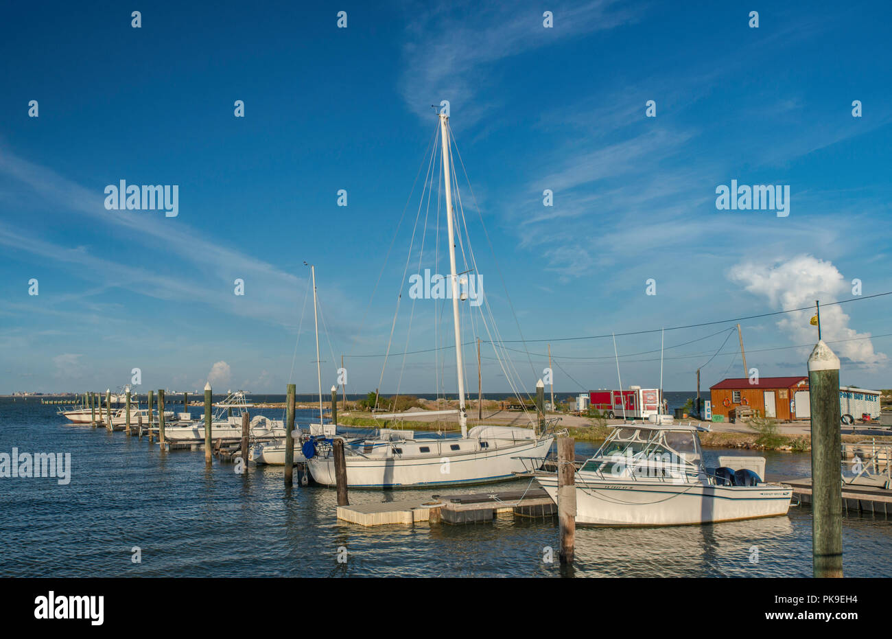 Sailboats at Nautical Landings Marina in Port Lavaca, Gulf Coast, Texas, USA - Stock Image