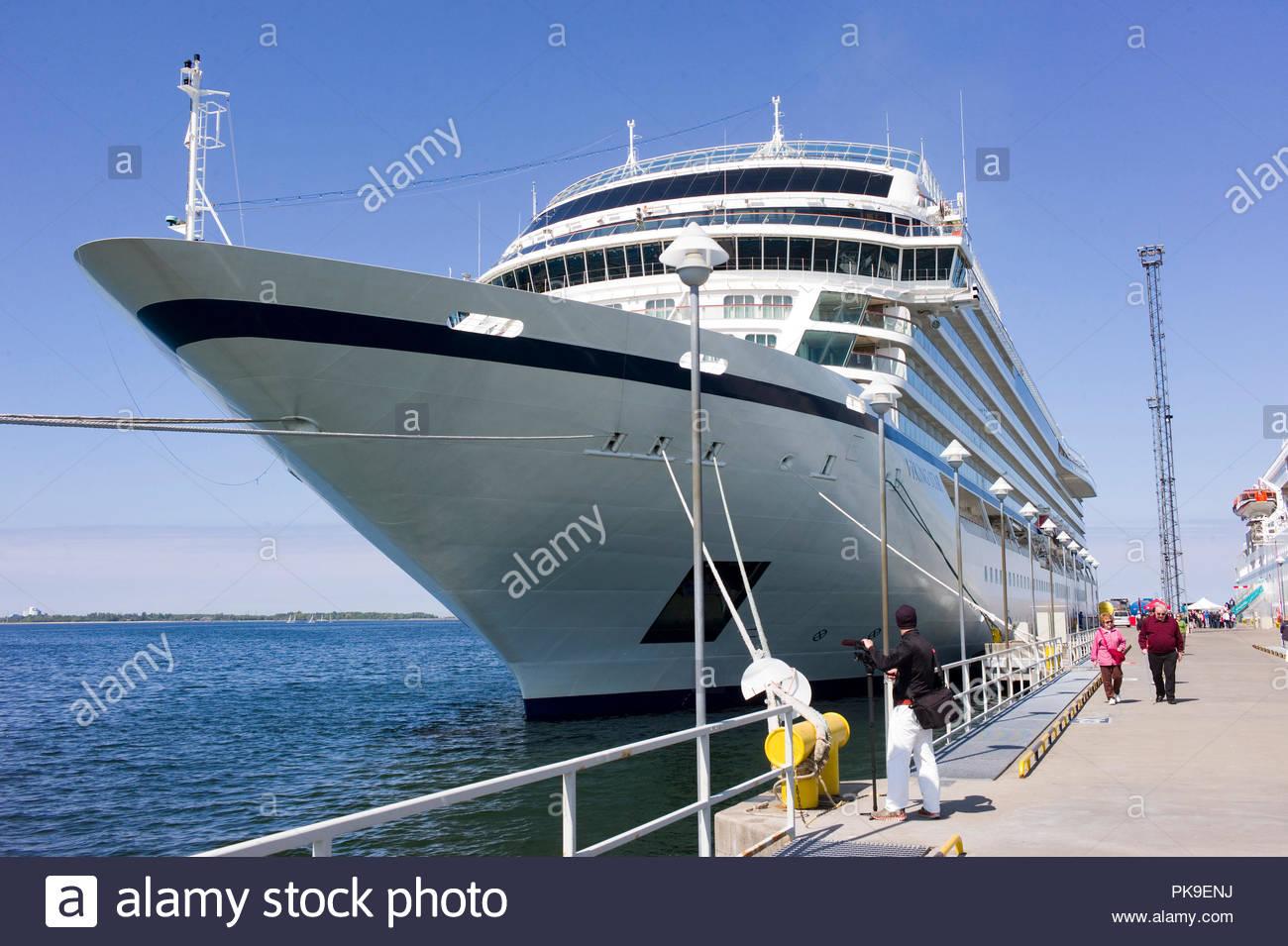 Luxury cruise ship 'Viking Star', part of the Viking ocean going fleet, moored in Tallin harbour, Estonia. Stock Photo