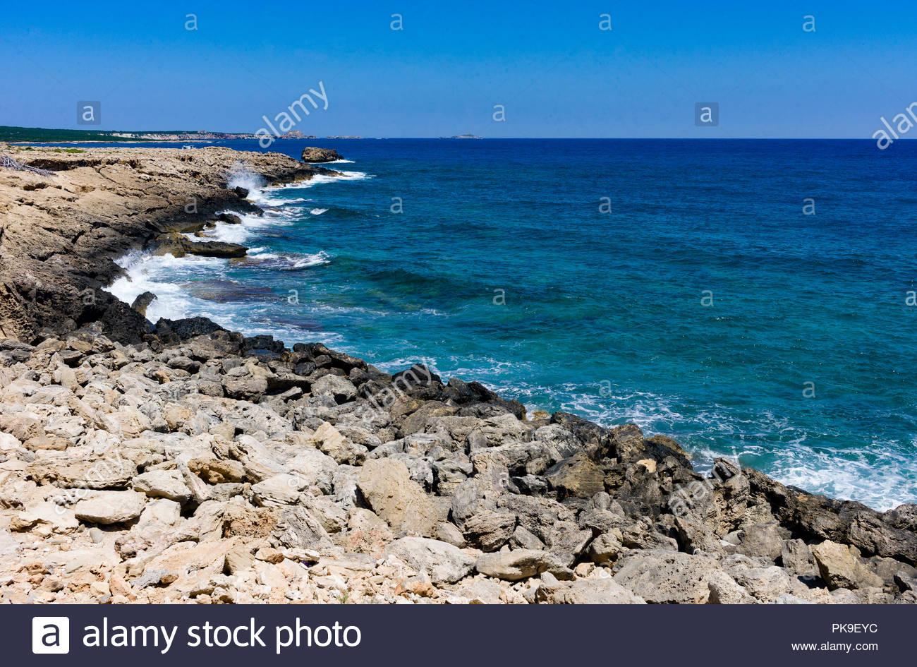 Rocky seashore on the Karpas Peninsula, northern Cyprus Stock Photo