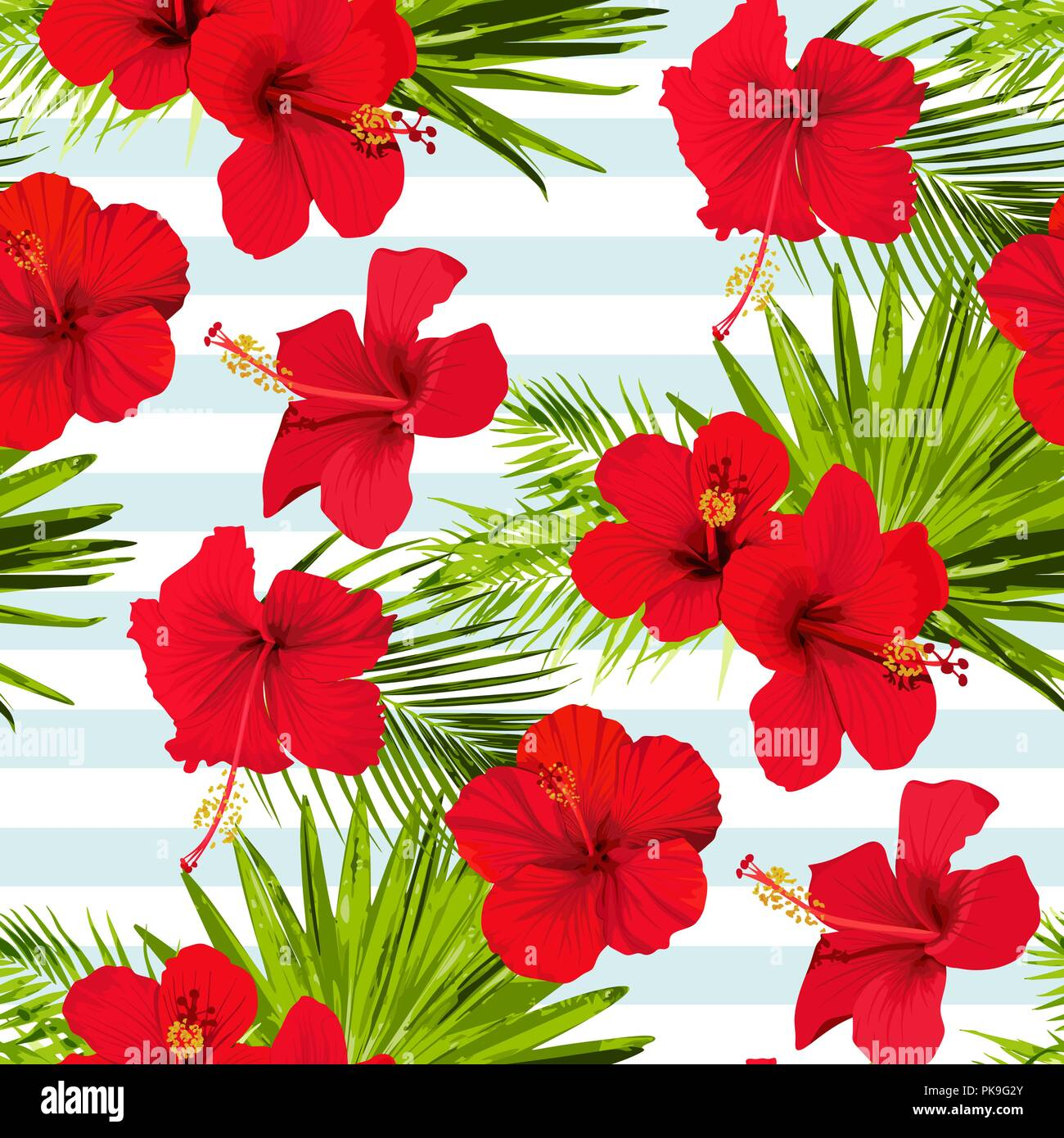 Hibiscus Flower Vector Seamless Pattern On A Blue Stripes Background