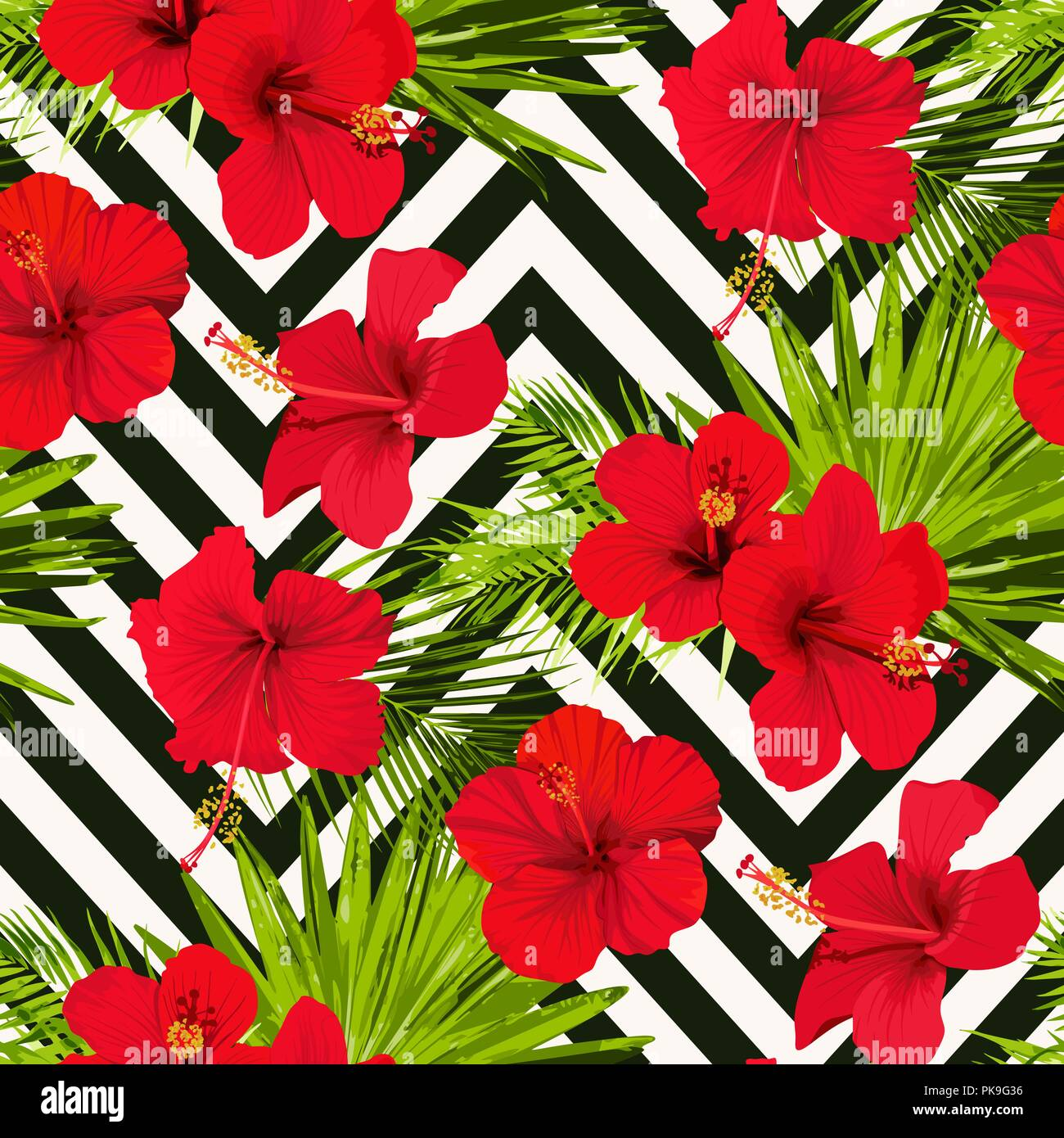 Hibiscus Flower Vector Seamless Pattern On A Abstract Chevron