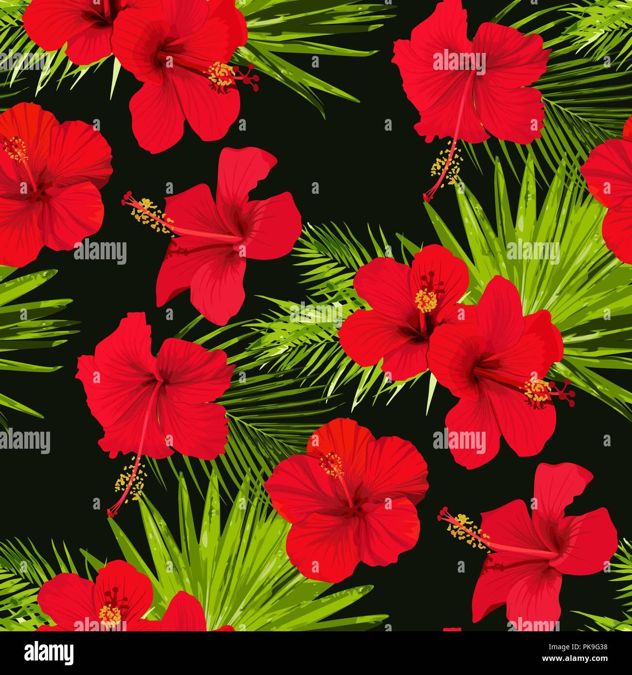 Hibiscus flower vector seamless pattern on a black background hibiscus flower vector seamless pattern on a black background flowered tropical texture izmirmasajfo