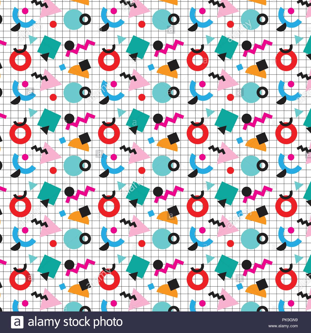 colorful memphis style abstract pattern on black line grid Stock Vector