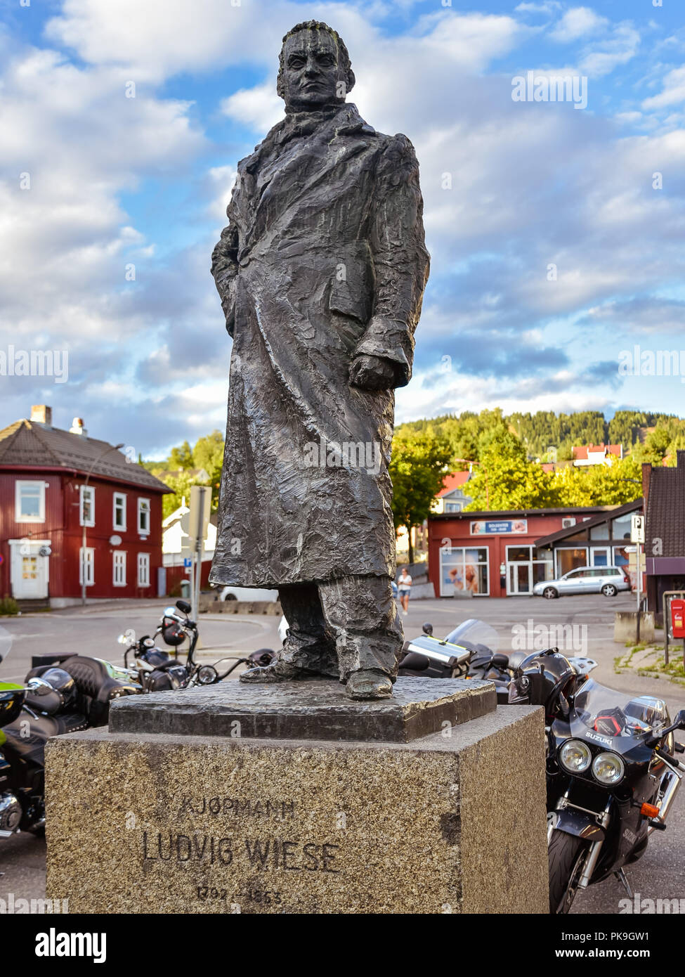 Lillehammer, Norway - Aug. 5, 2018: Statue of Ludvig Wiese (1792-1853), a Norwegian merchant and politician,and Lillehammer's first mayor. - Stock Image