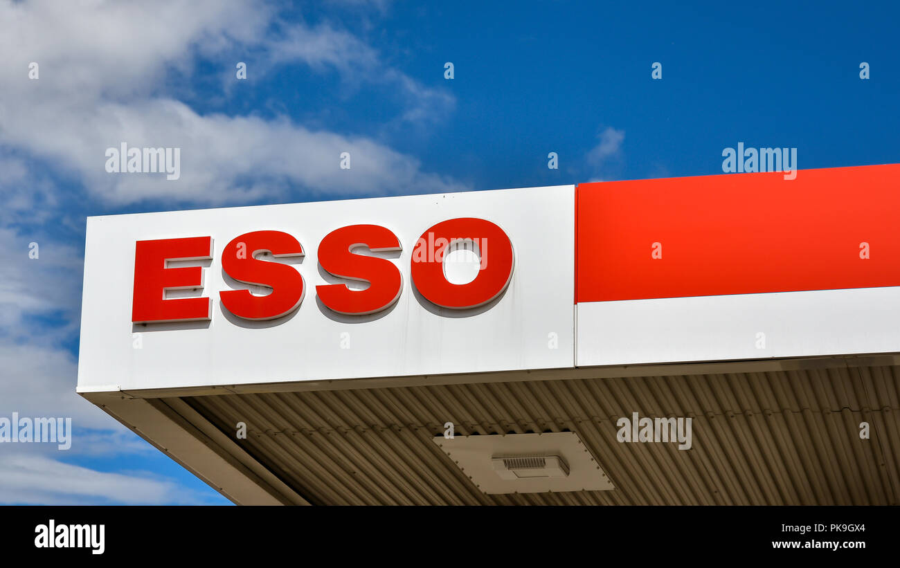 Loten, Norway - ESSO gasoline station. ESSO is a trading name for ExxonMobil and its related companies. - Stock Image