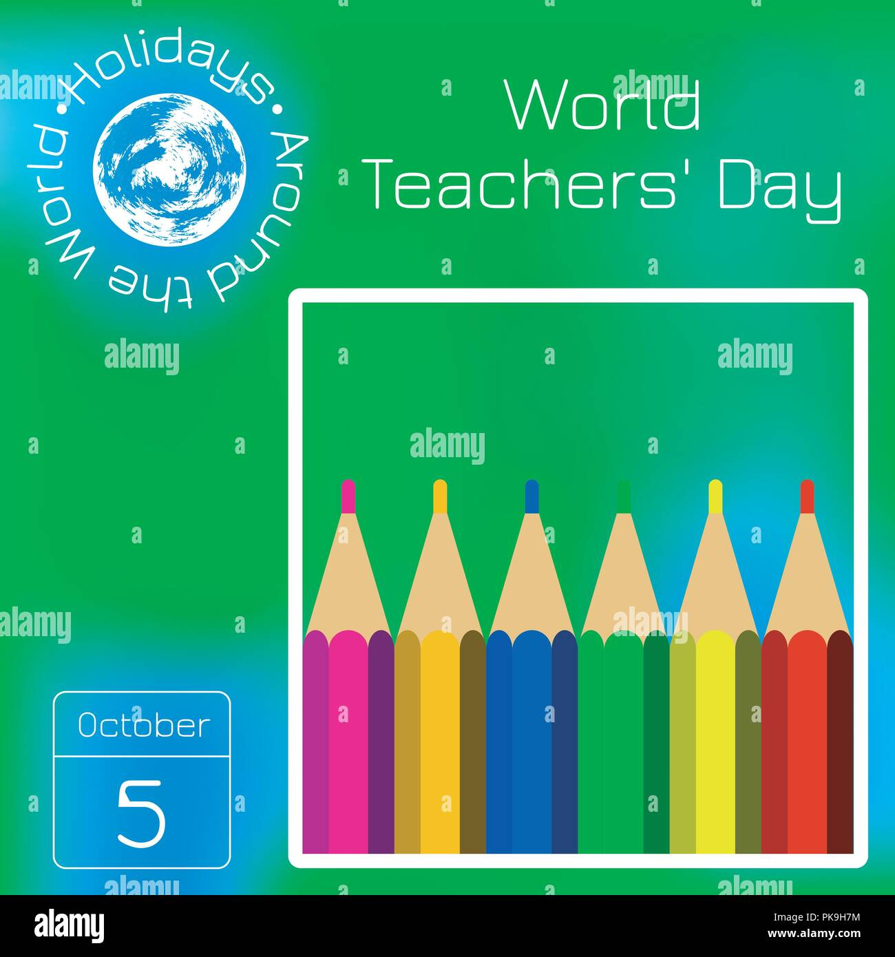World Teachers Day Professional Holiday Concept Color Pencils