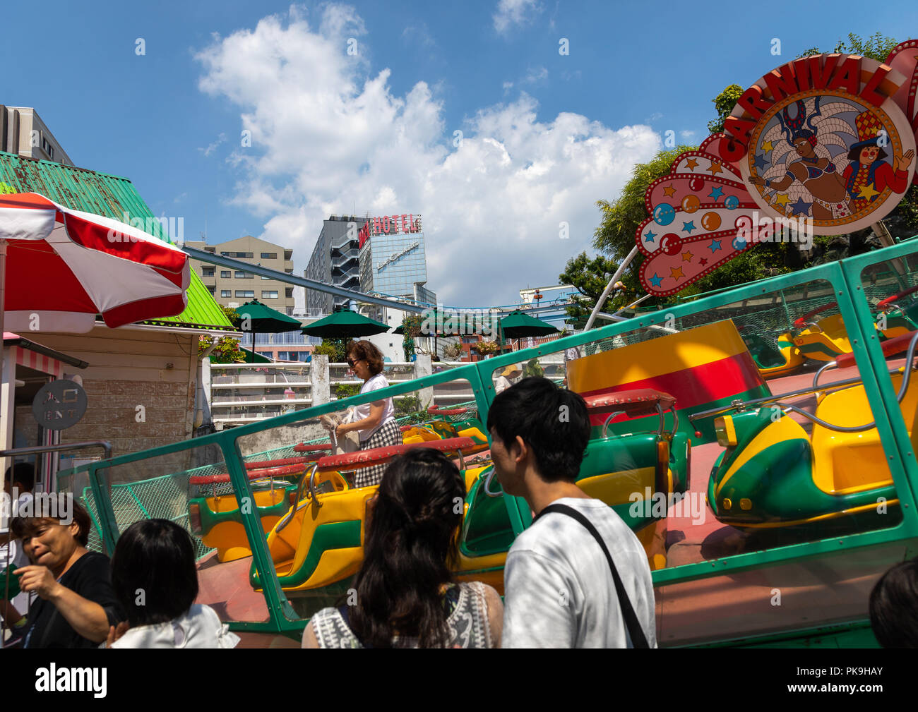 Carousel in Hanayashiki park, Kanto region, Tokyo, Japan - Stock Image