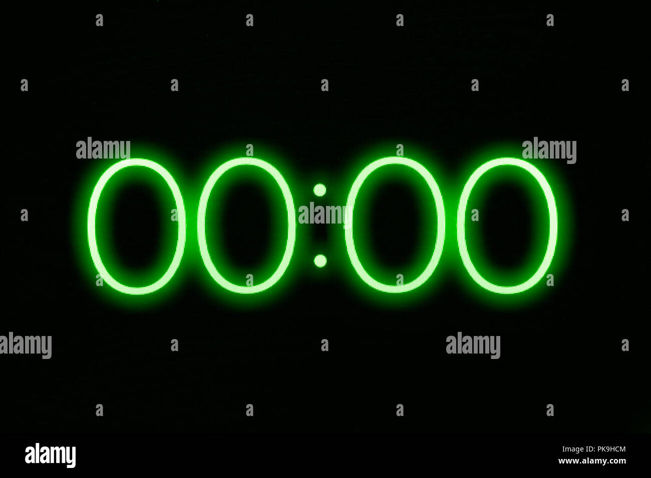 Digital clock timer stopwatch display showing 0 zero seconds remaining. Emergency, urgency, out of time concept. - Stock Image