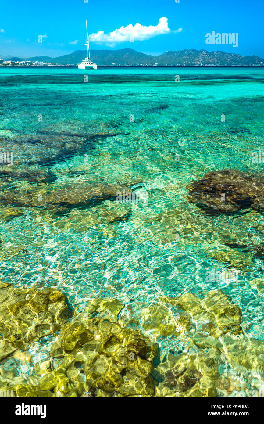 Beautiful transparent clear sea water at seaside of Cala Millor on Mallorca island, Spain - Stock Image
