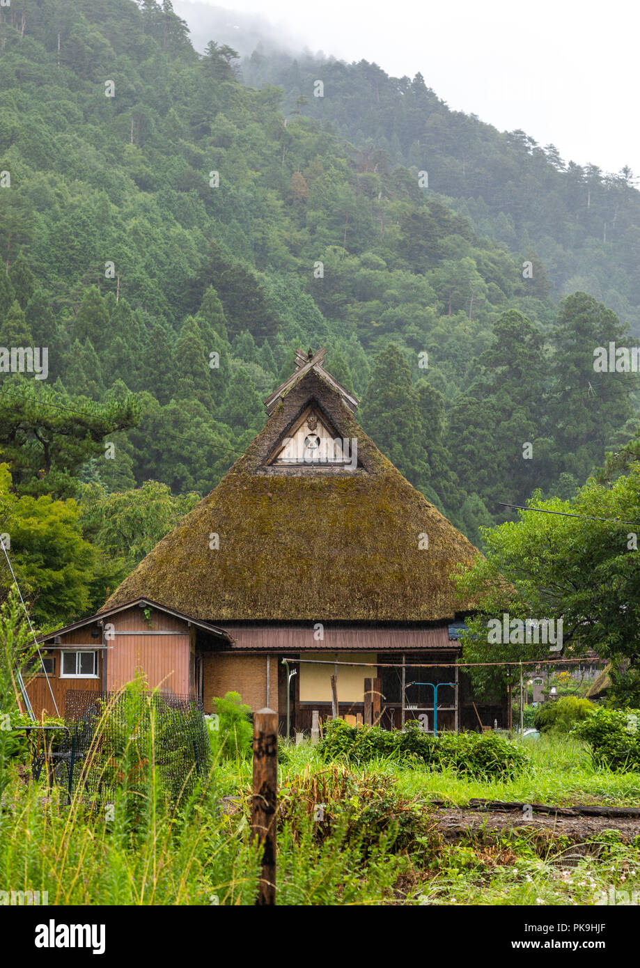 Thatched roofed houses in a traditional village against a bamboo forest, Kyoto Prefecture, Miyama, Japan - Stock Image