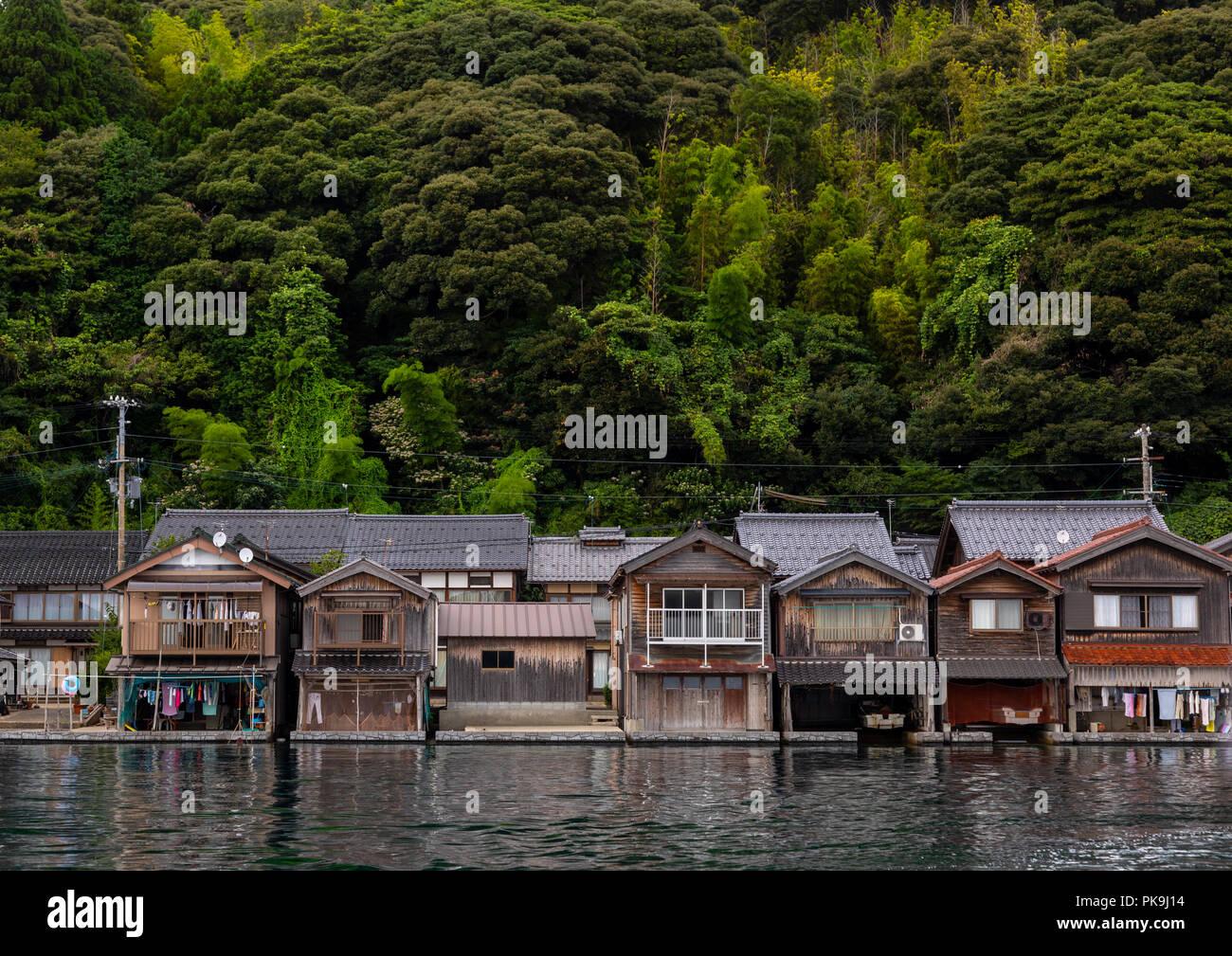 Funaya fishermen houses, Kyoto prefecture, Ine, Japan - Stock Image
