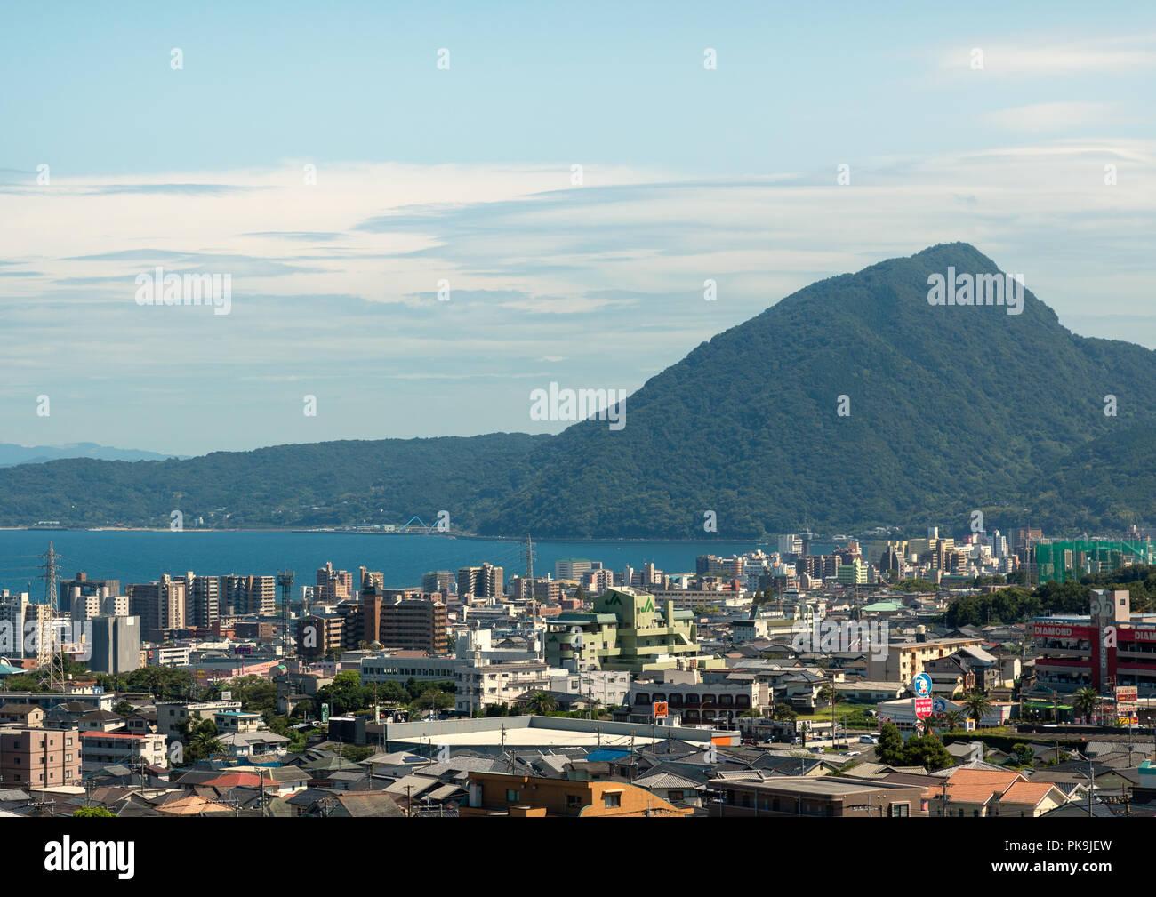 Cityscape and coastline, Oita Prefecture, Beppu, Japan - Stock Image