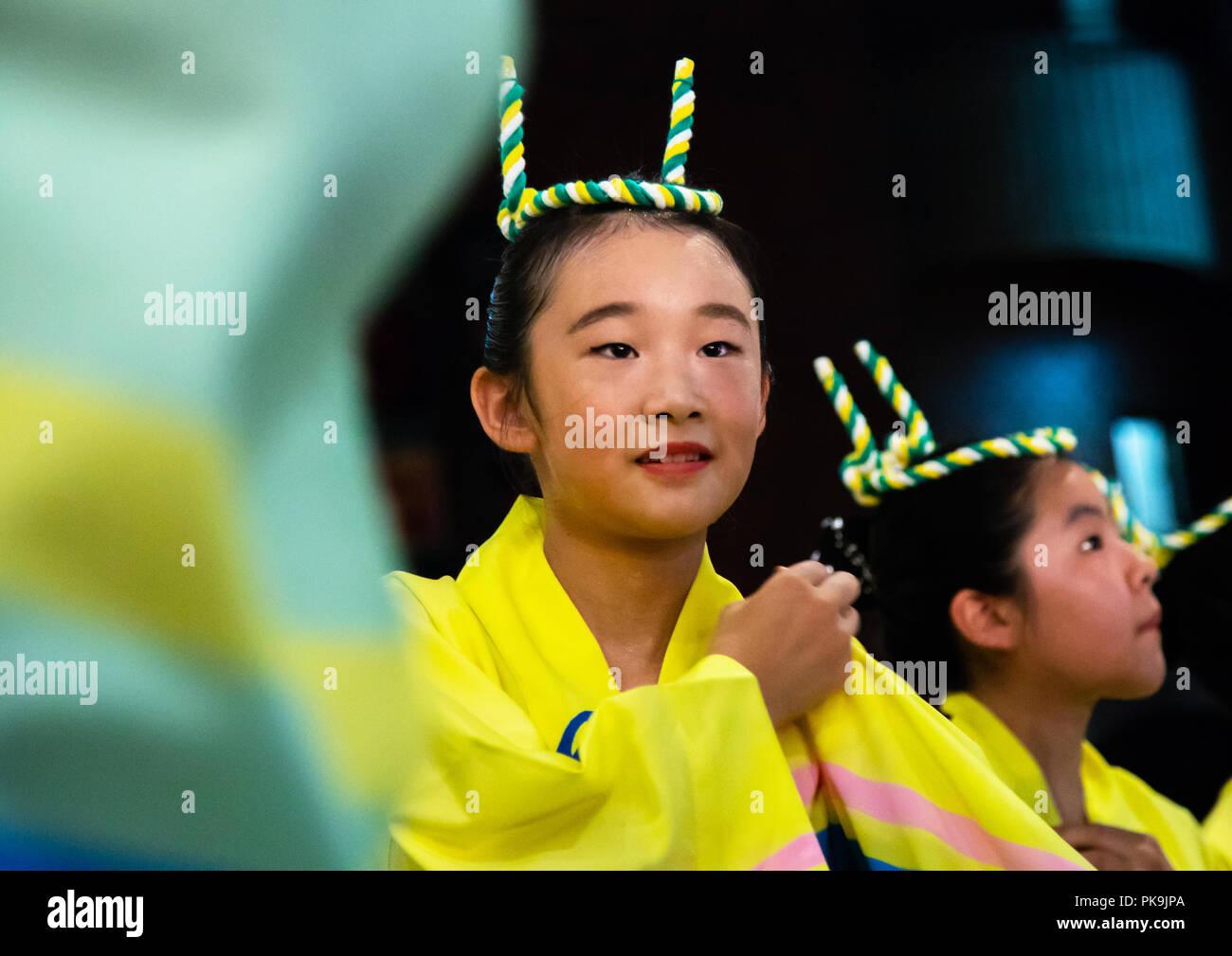 Japanese children during the Koenji Awaodori dance summer street festival, Kanto region, Tokyo, Japan Stock Photo