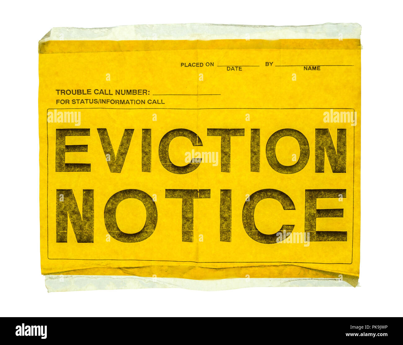 Yellow Notice On Front Door: Eviction Notice Stock Photos & Eviction Notice Stock