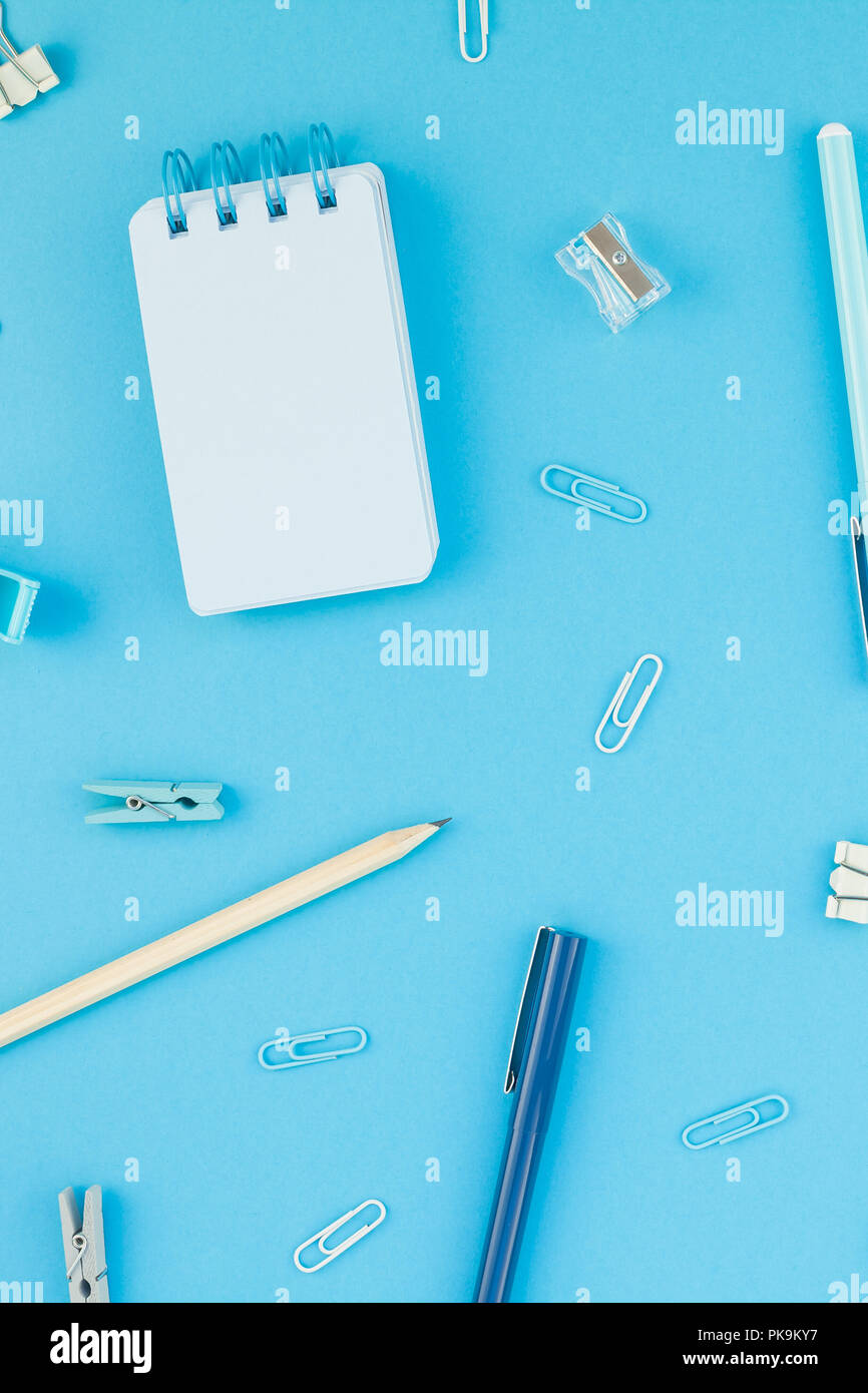 Temp office space Small Top View Flat Lay Of Workspace Desk Styled Design School And Office Supplies With Copy Space Turquoise Blue Color Paper Background Minimal Style Temp Everblock Top View Flat Lay Of Workspace Desk Styled Design School And Office