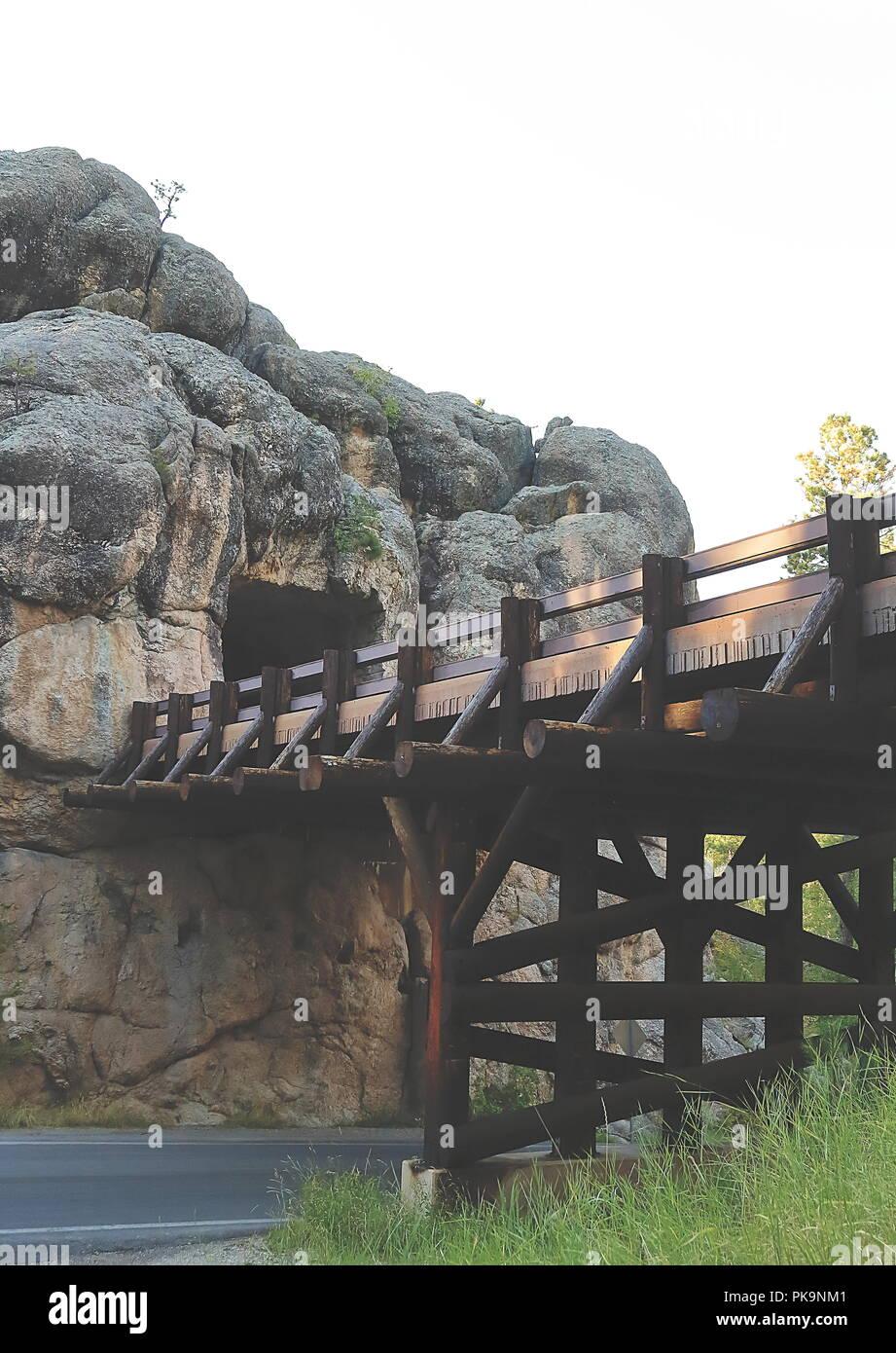 View of C.C. Gideon Tunnel and beautiful Bridge in Black Hills, South Dakota - Stock Image