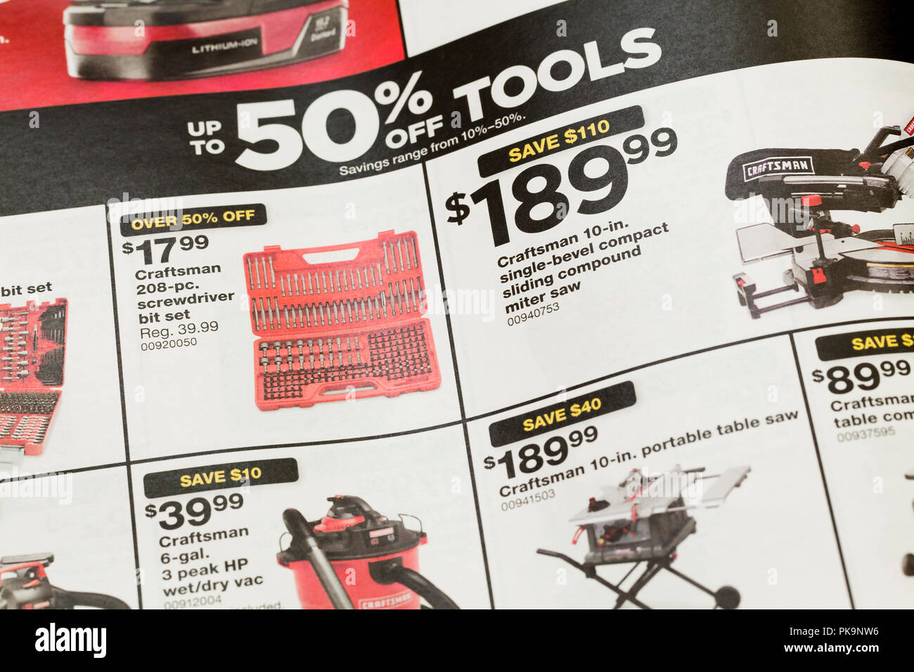 Hardware store weekly mailer ad showing sale on tools - USA - Stock Image