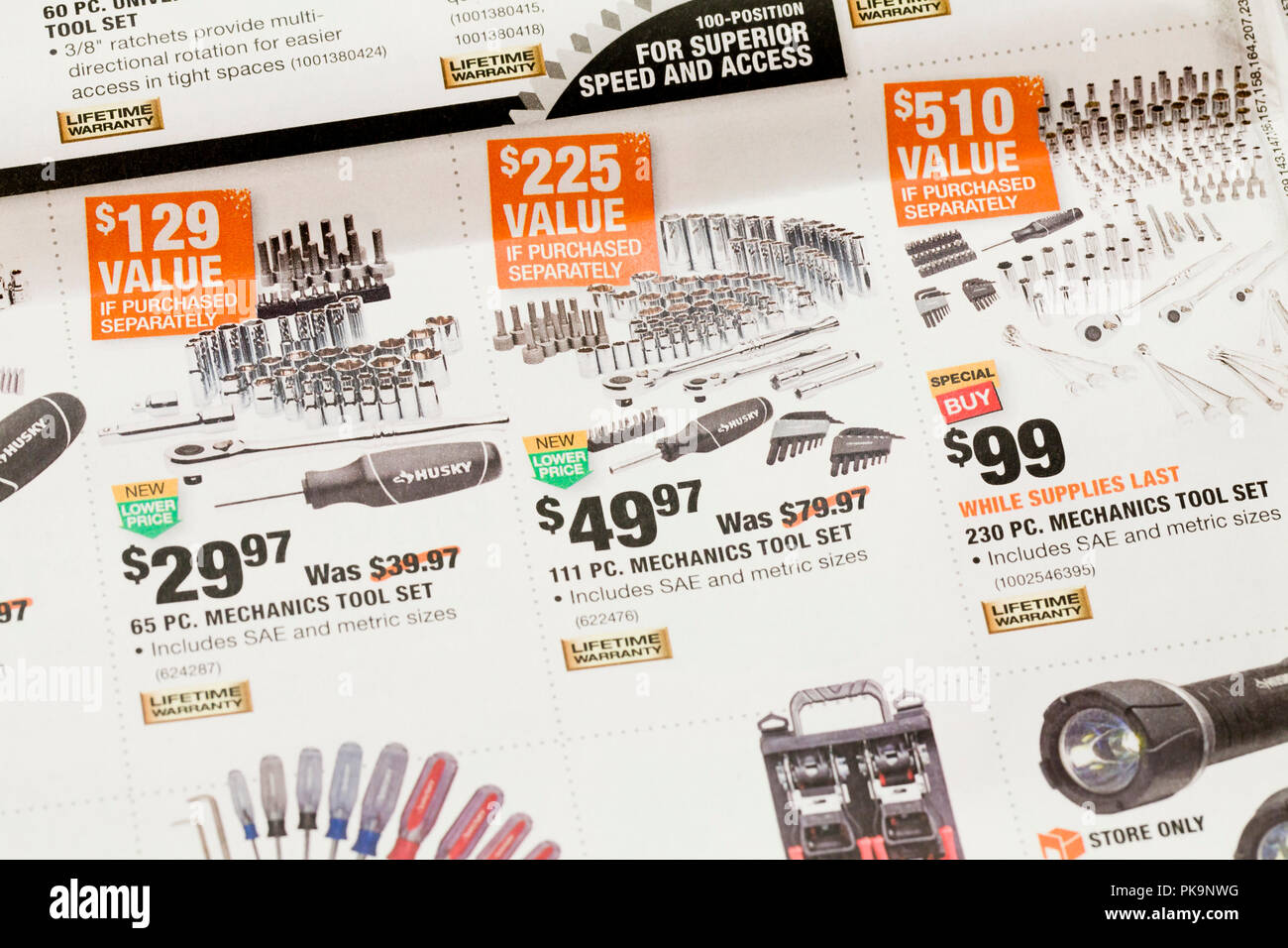 Weekly mailer advertisement from Home Depot (hardware store) - USA - Stock Image