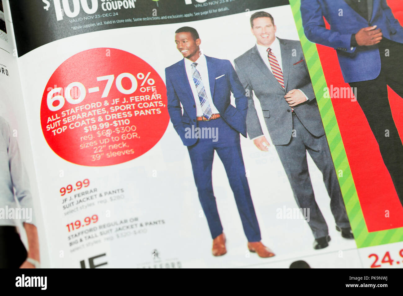Men's suits advertisement in weekly mailer ad - USA - Stock Image