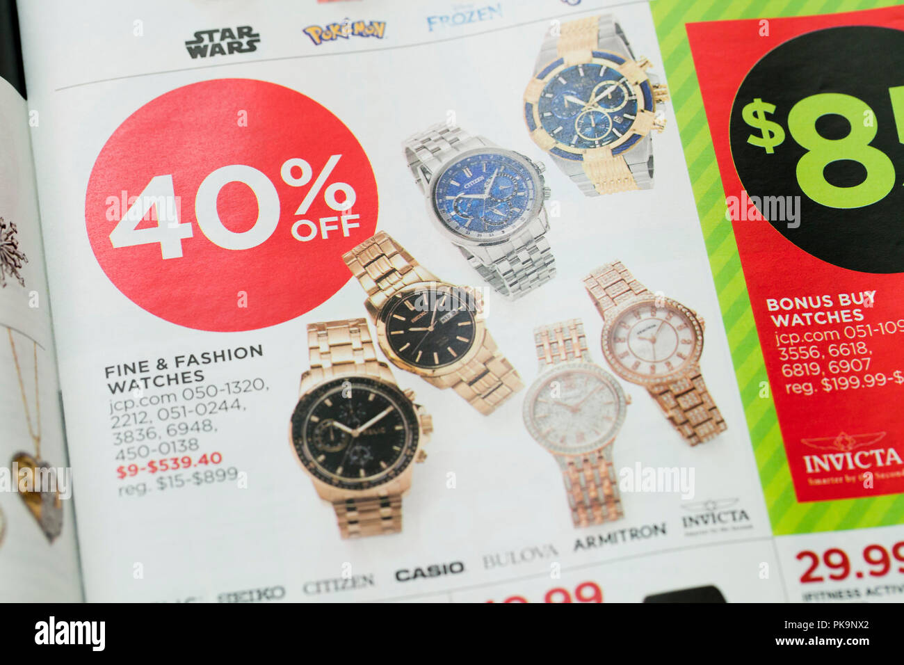 Wristwatch sale advertisement in weekly mailer - USA - Stock Image