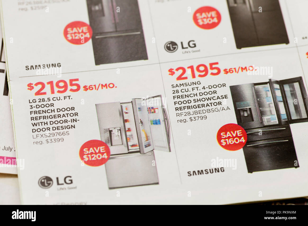 Weekly mailer ad for refrigerators (home appliances) - USA - Stock Image