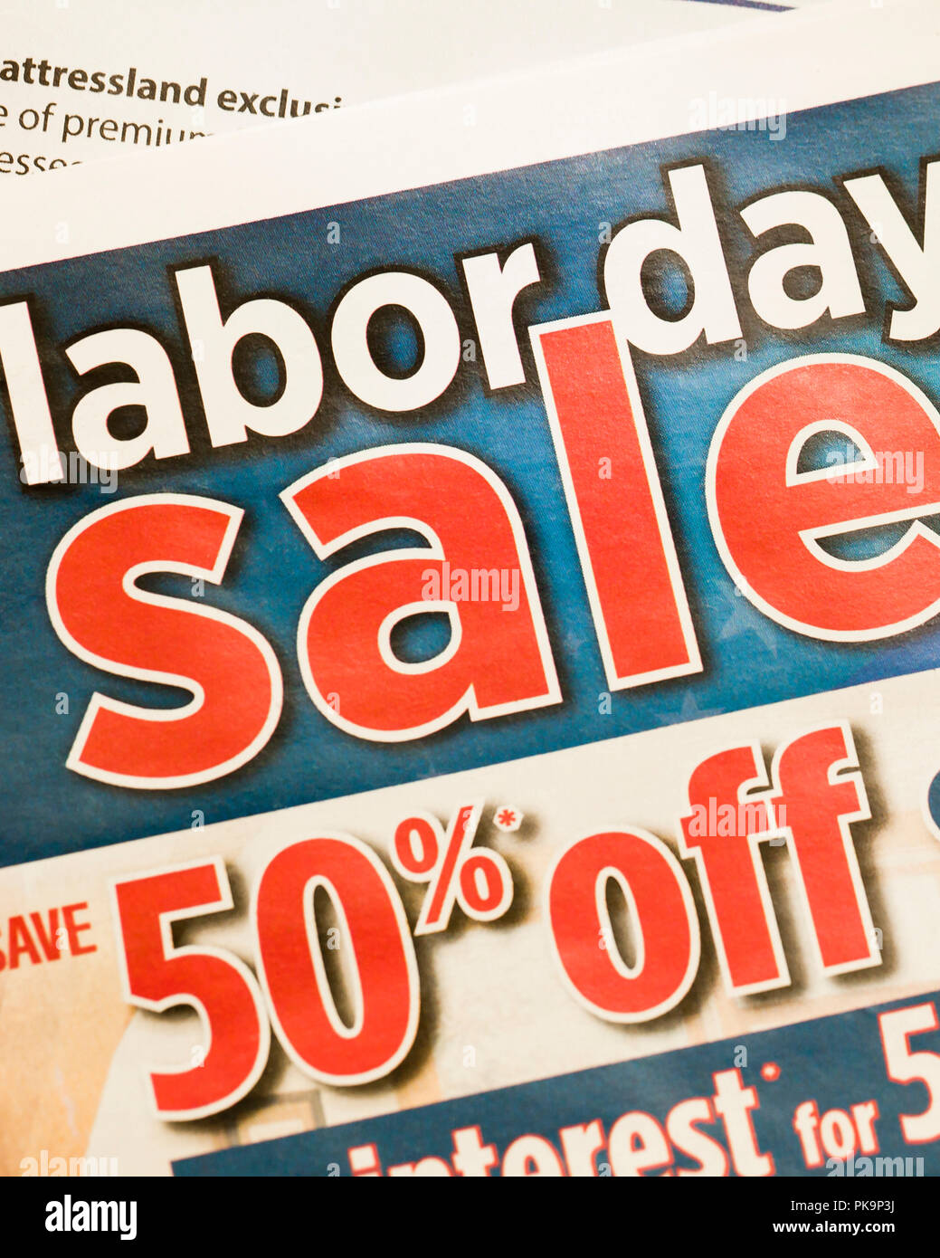 Labor day sale mailer ad from furniture store usa