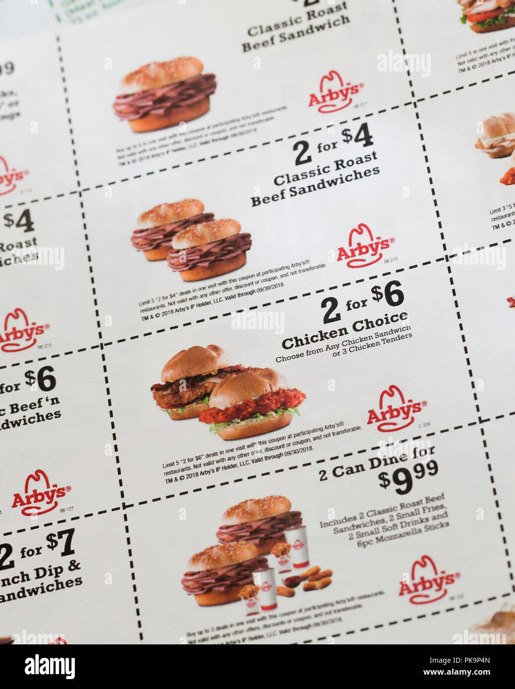 Arbys Sandwich Coupons Fast Food Coupon Usa Stock Photo