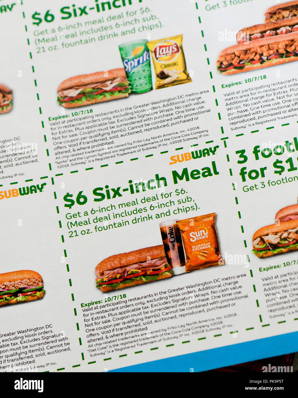 Subway Sandwich Coupons Fast Food Coupon Usa Stock Photo