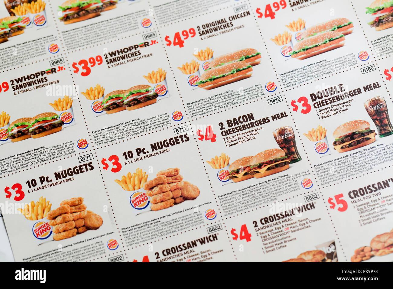 Burger King Coupons Fast Food Coupon Usa Stock Photo 218417895