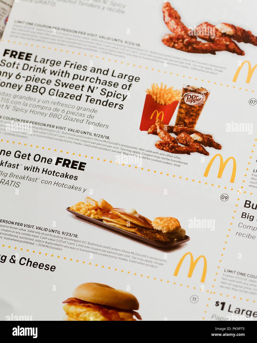 Mcdonald S Coupons Fast Food Coupon Usa Stock Photo 218417897