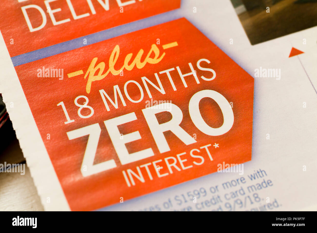 '18 Months Zero Interest' message on print advertisement - USA - Stock Image