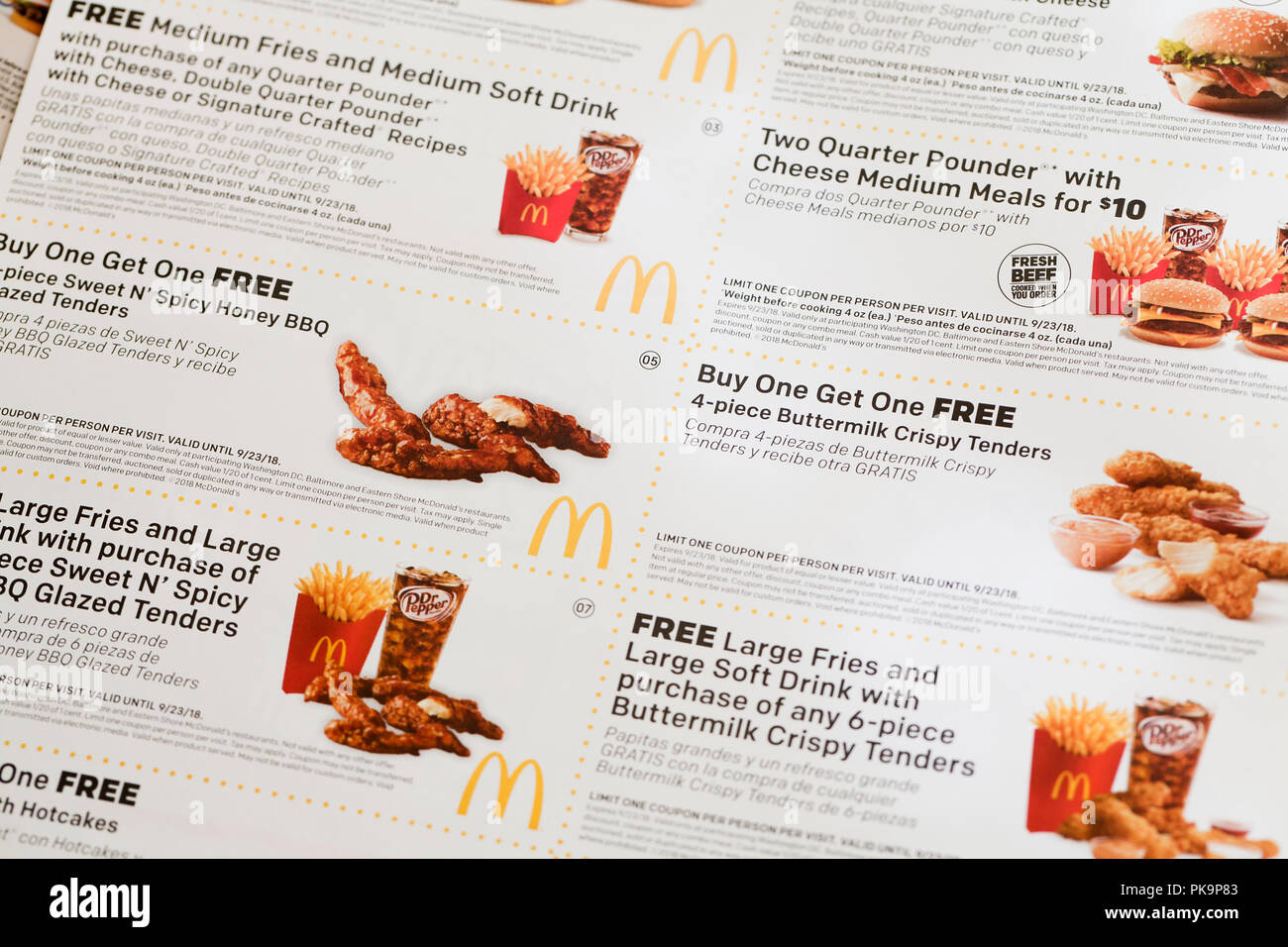 Mcdonald S Coupons Fast Food Coupon Usa Stock Photo 218417923
