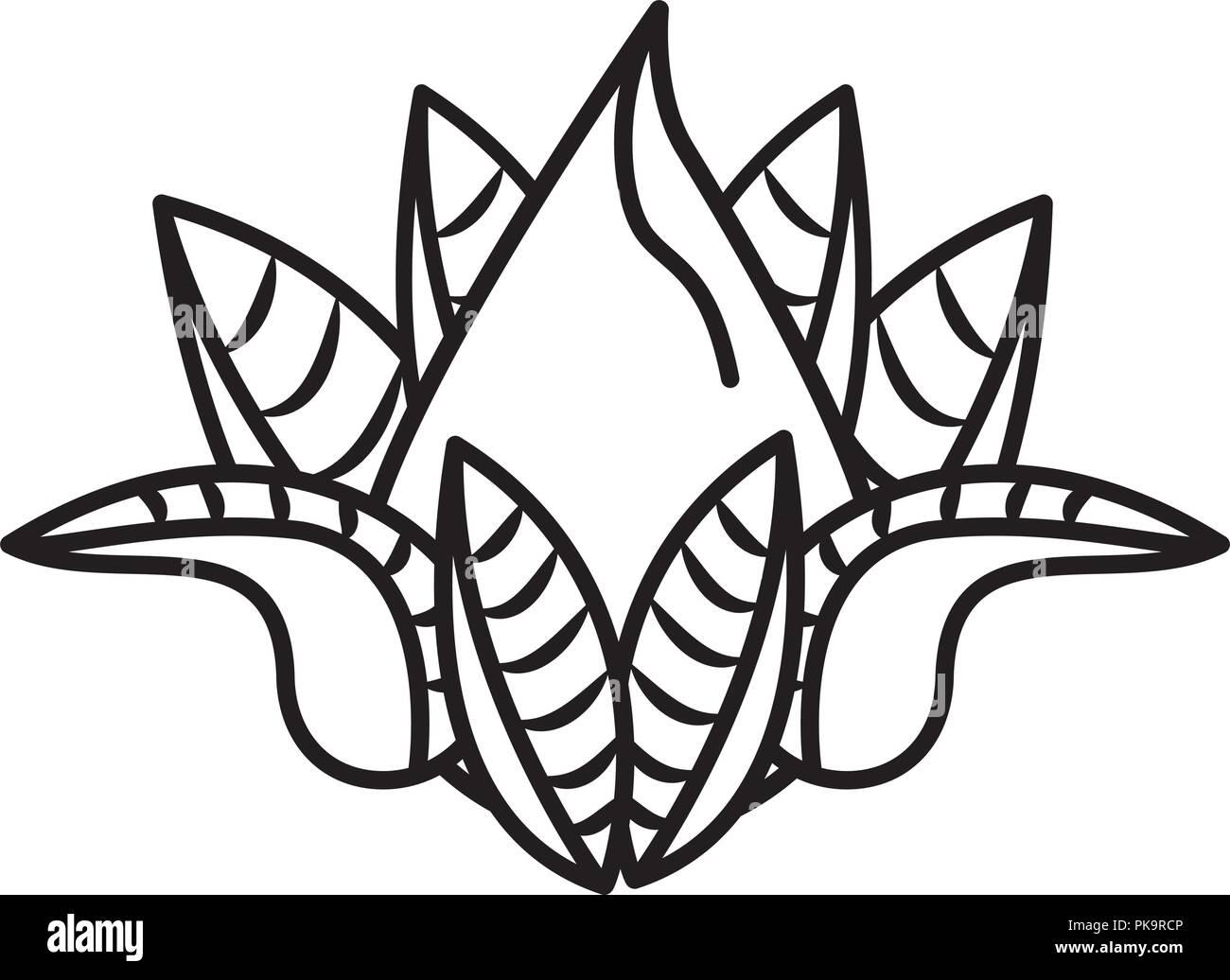 Lotus Flower Cartoon In Black And White Stock Vector Art
