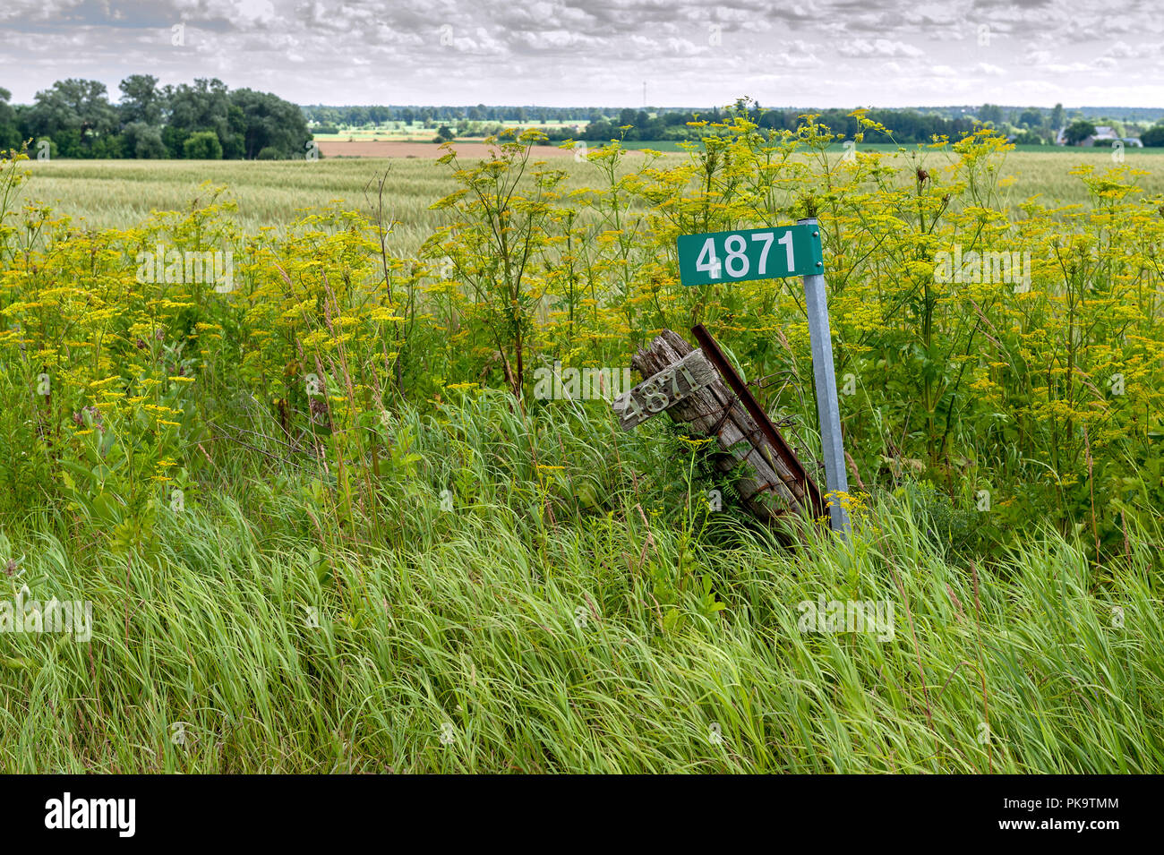 decaying fence post and house number next to new metal address post and number - Stock Image