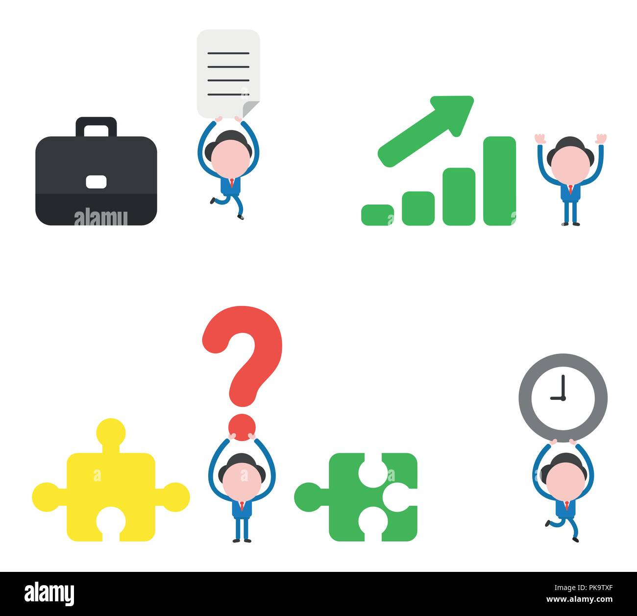 Vector illustration set of businessman mascot character with briefcase and carrying written paper, with sales bar garph moving up, holding up question - Stock Image