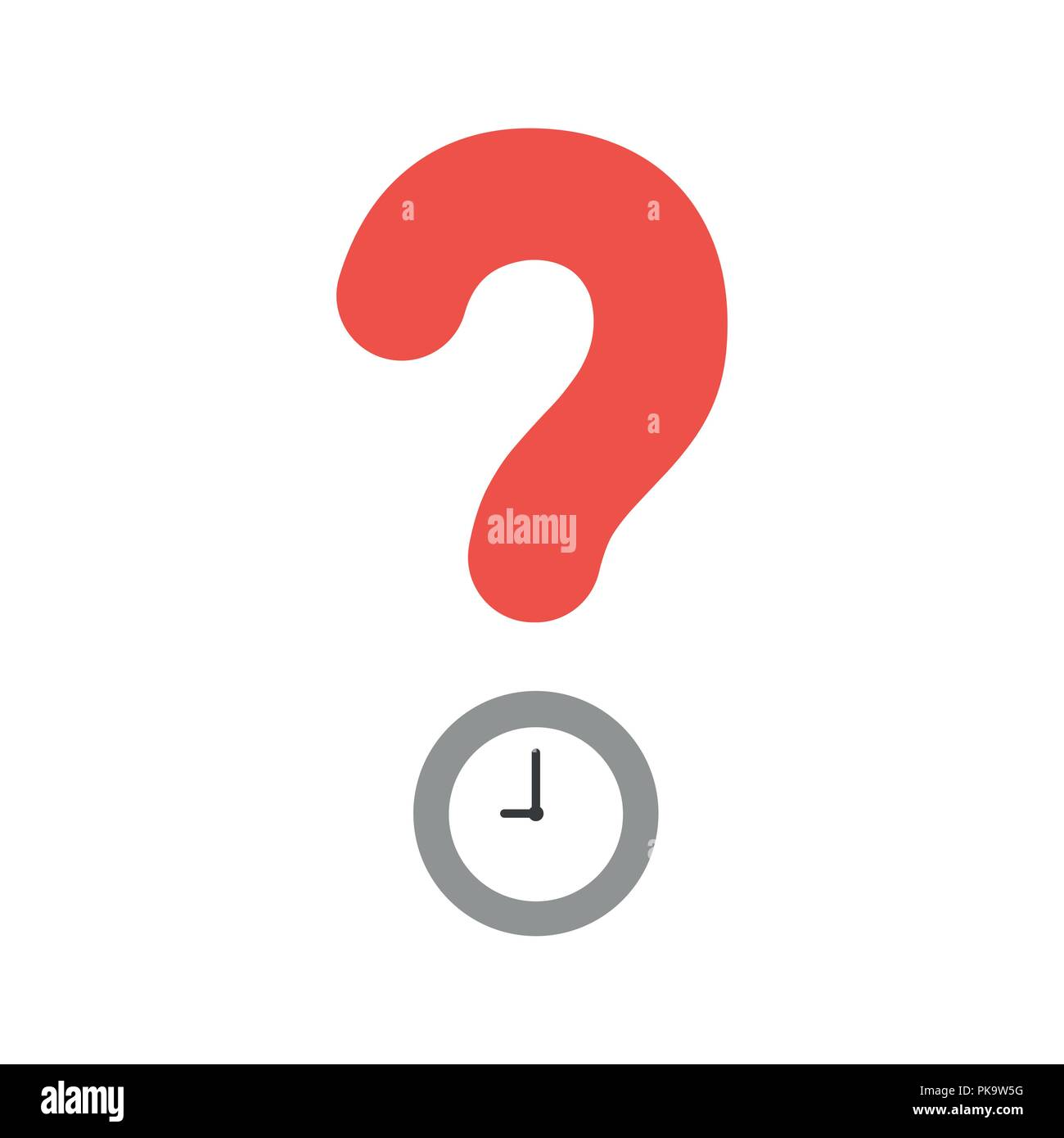 Vector illustration icon concept of question mark with clock time. - Stock Image