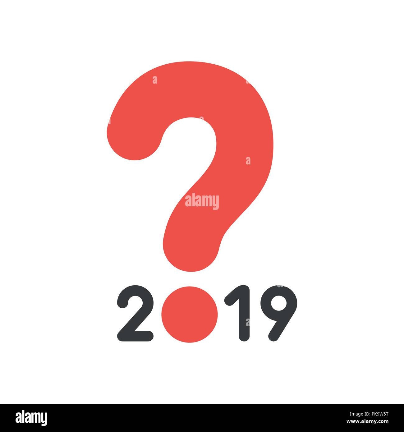 Vector illustration icon concept of year of 2019 with question mark. - Stock Image