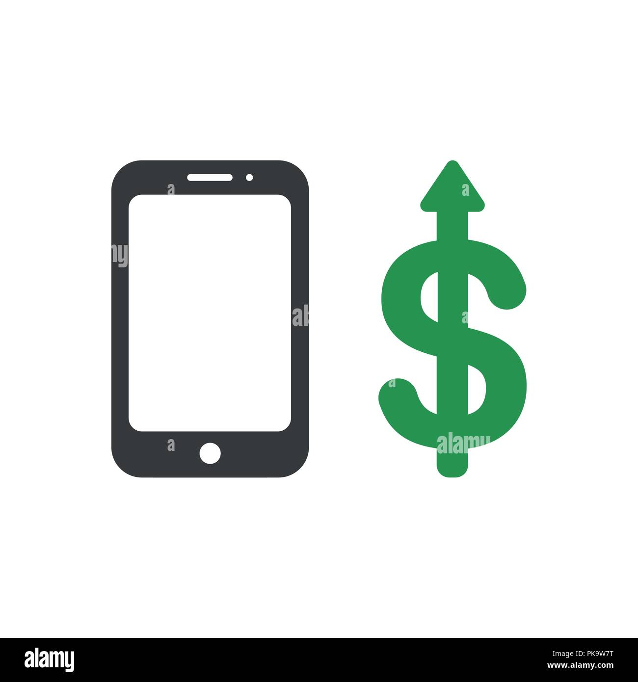 Vector illustration icon concept of smartphone with dollar money arrow moving up. - Stock Vector