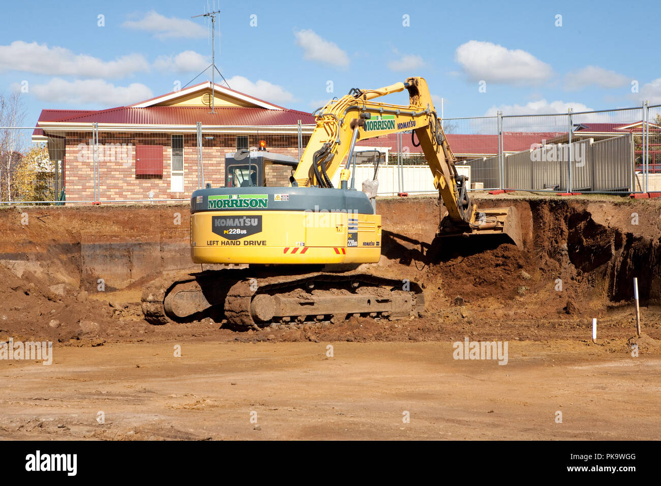Housing construction site, Dubbo, New South Wales, Australia - Stock Image