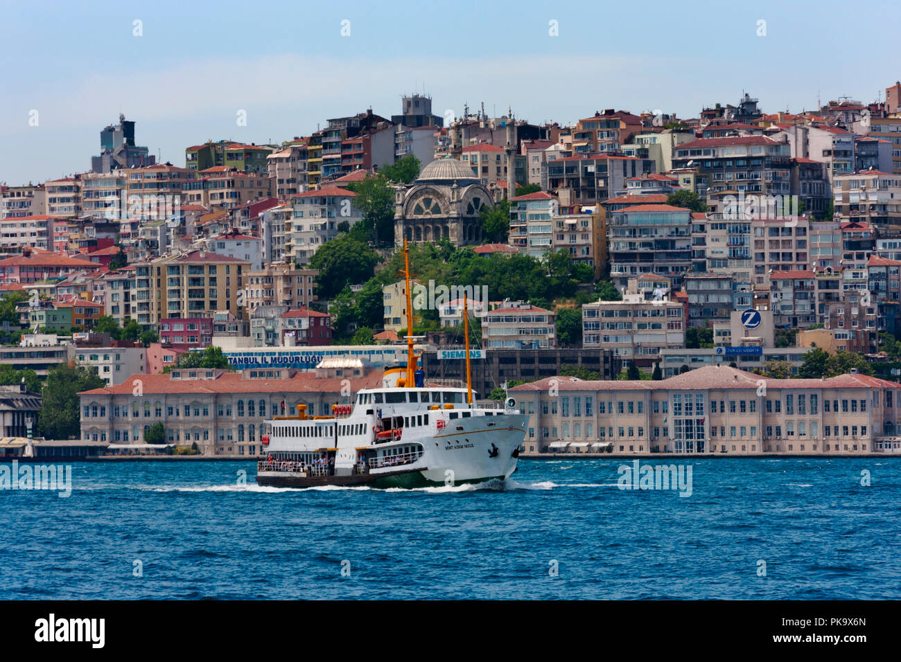 Houses along the waterfront on the European side, Golden Horn, Istanbul, Turkey - Stock Image