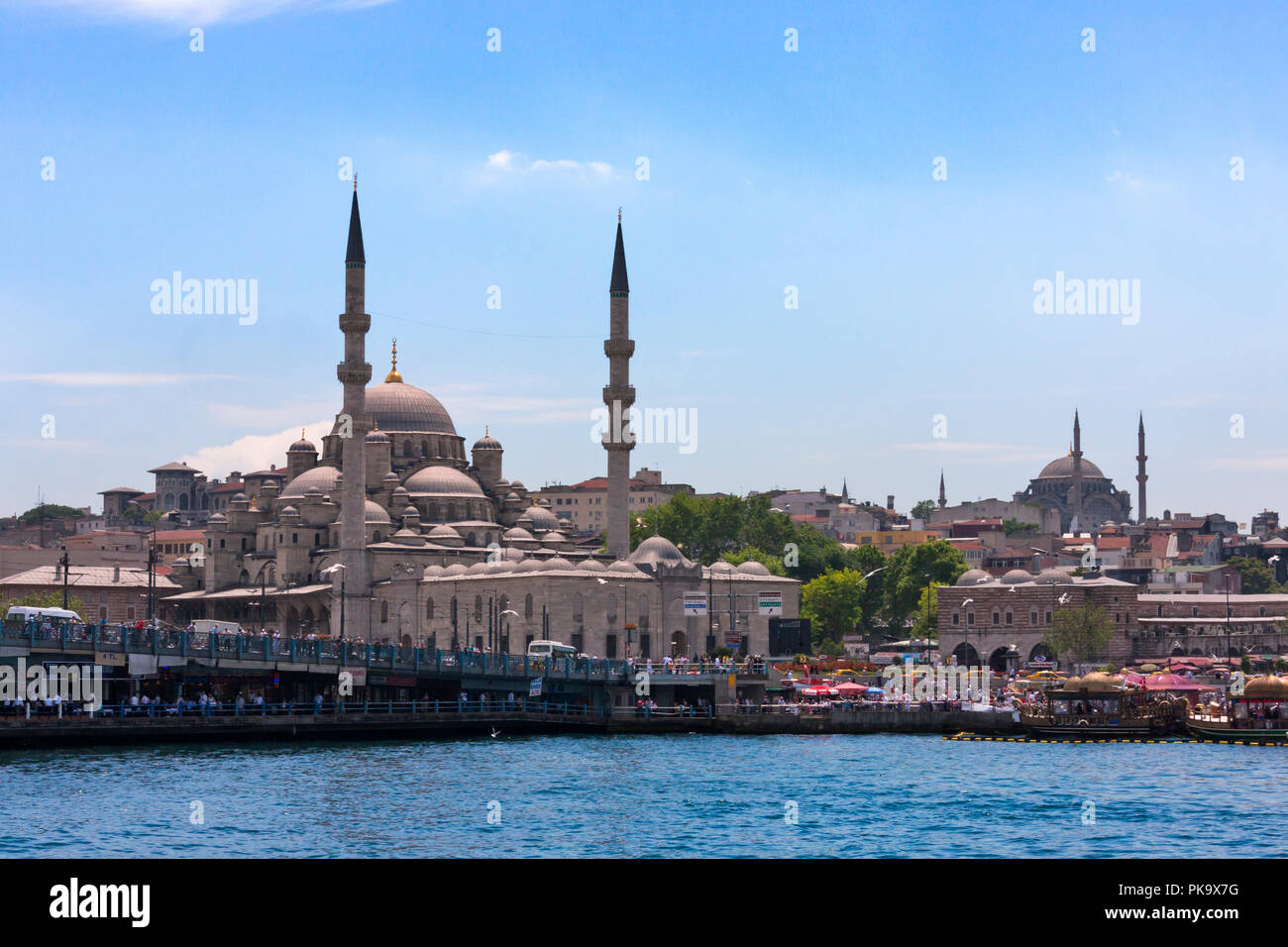 Yeni Cami (New Mosque) and other buildings along the waterfront, Golden Horn, Istanbul, Turkey - Stock Image