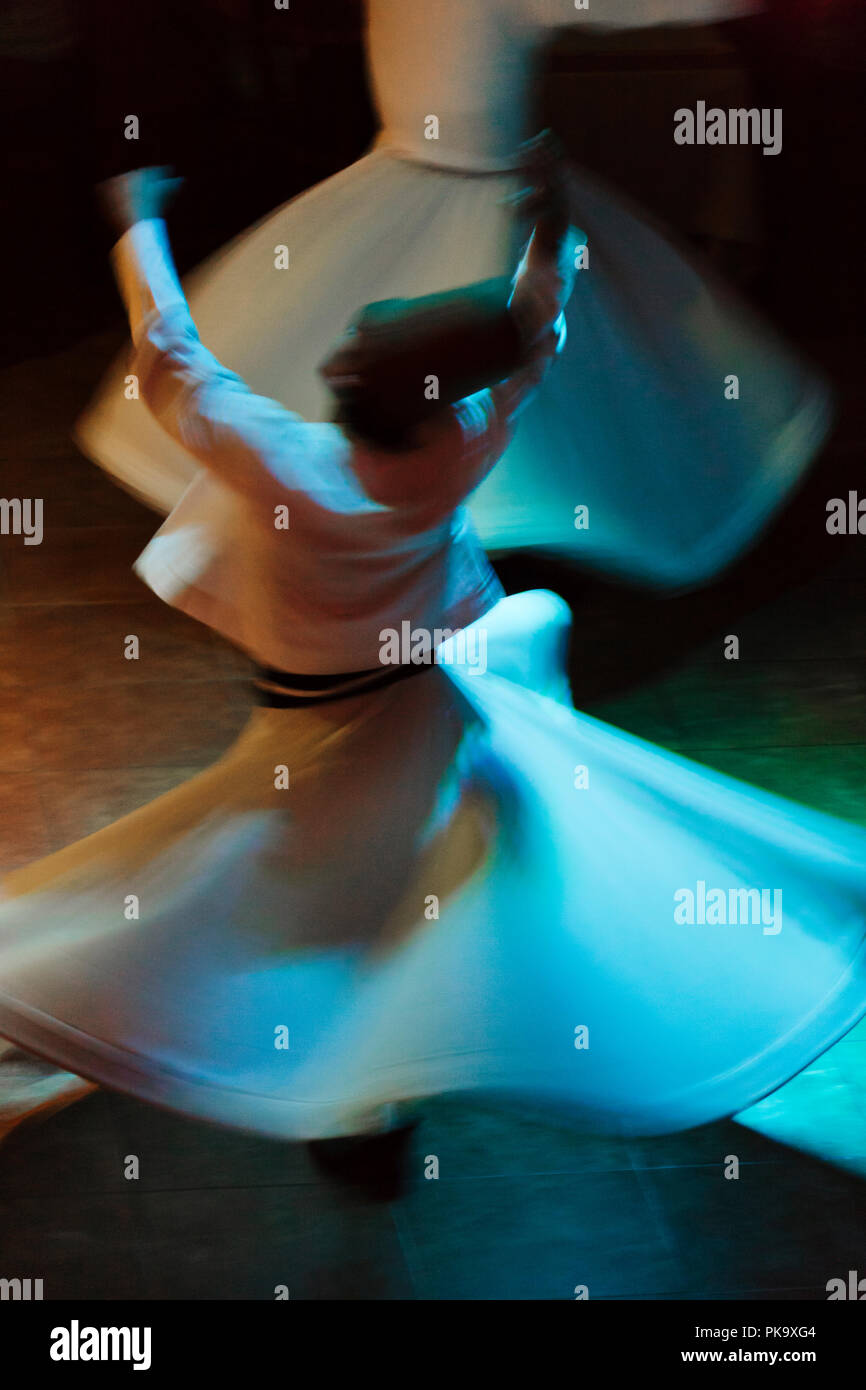 Whirling dervishes dancing, Istanbul, Turkey - Stock Image