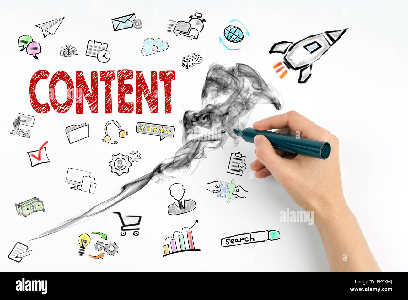 content and social media concept - Stock Image